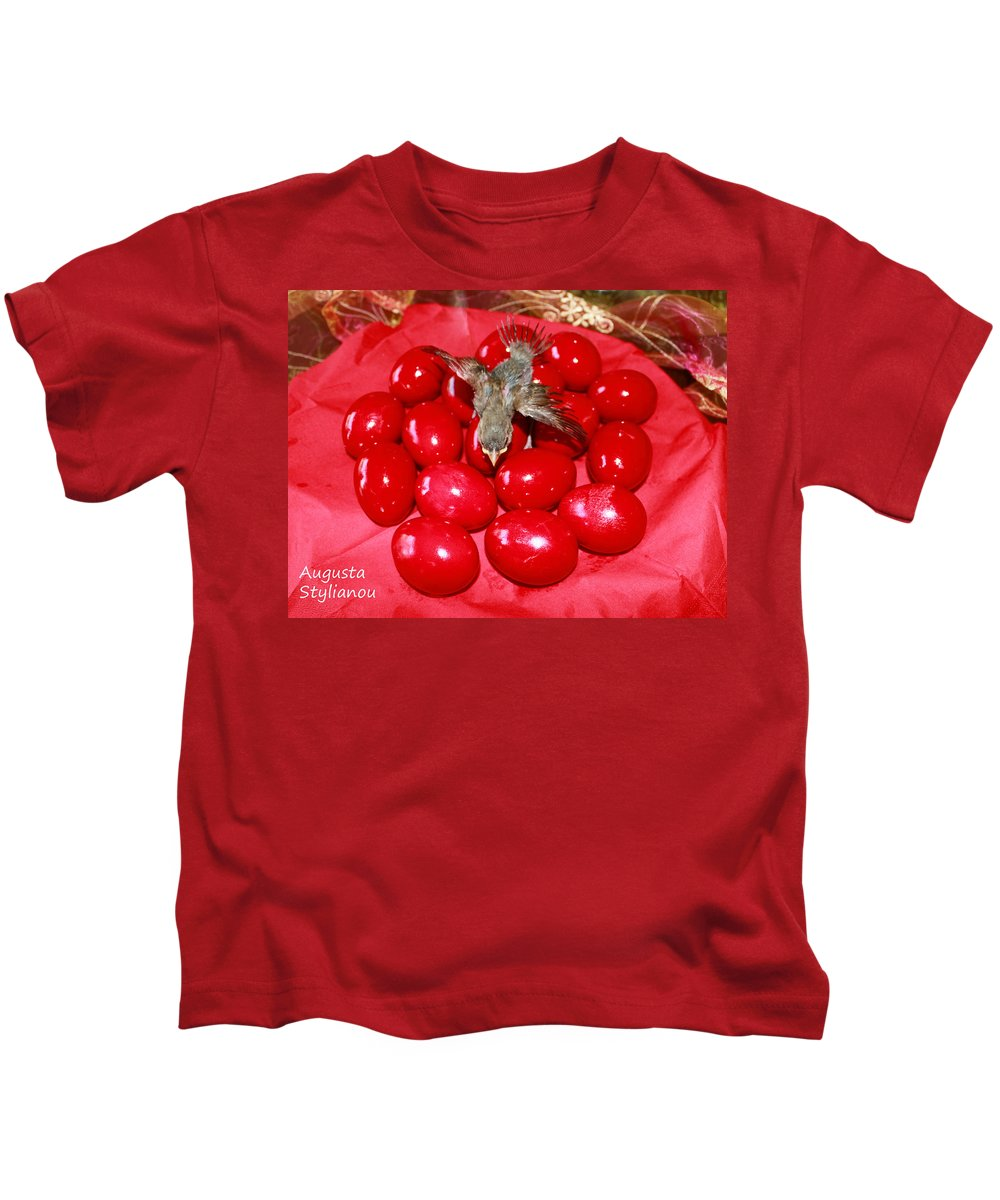 Augusta Stylianou Kids T-Shirt featuring the photograph Flying Over Red Eggs by Augusta Stylianou