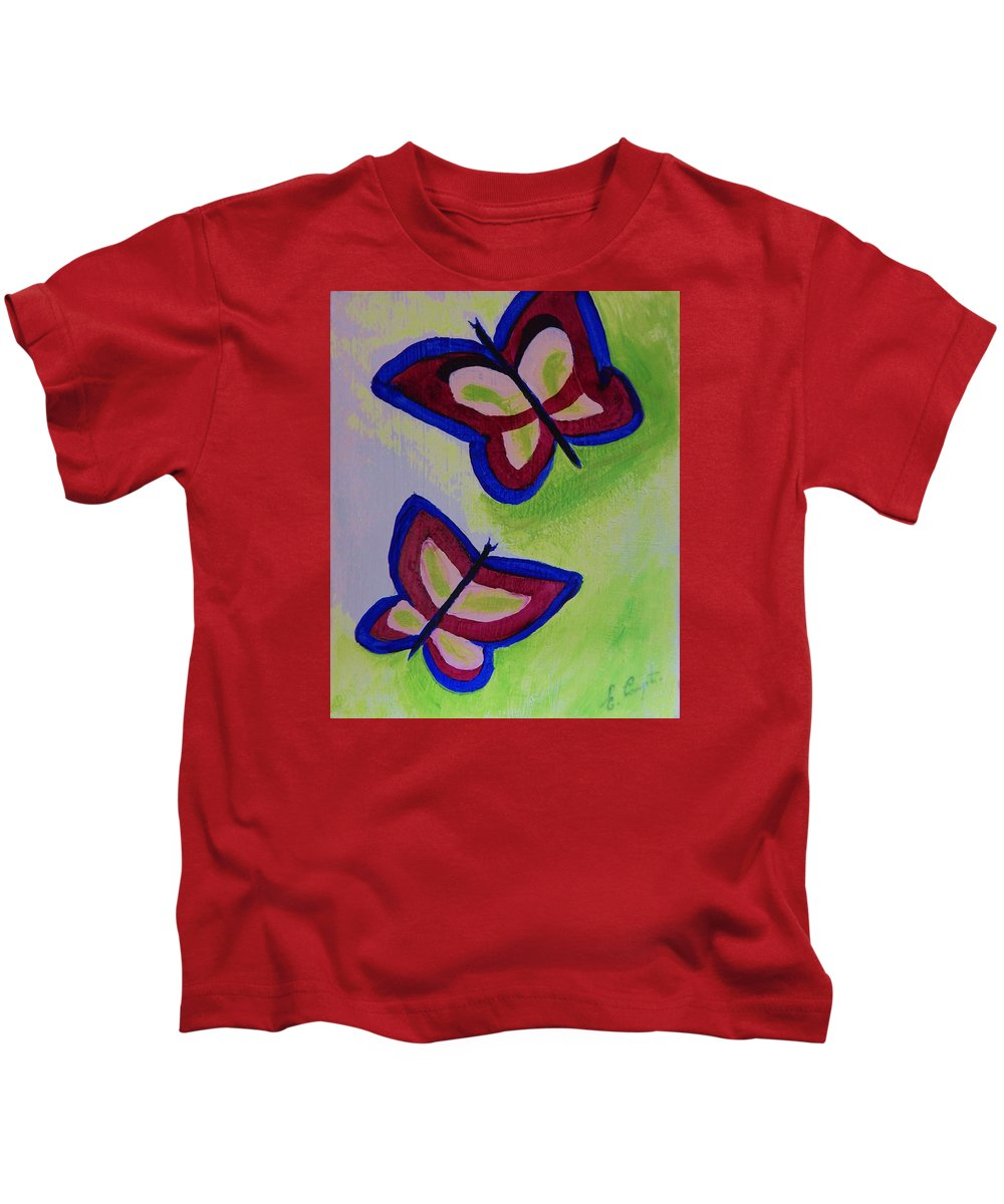 Children Kids T-Shirt featuring the painting Fun Butterflies by Betty Compton