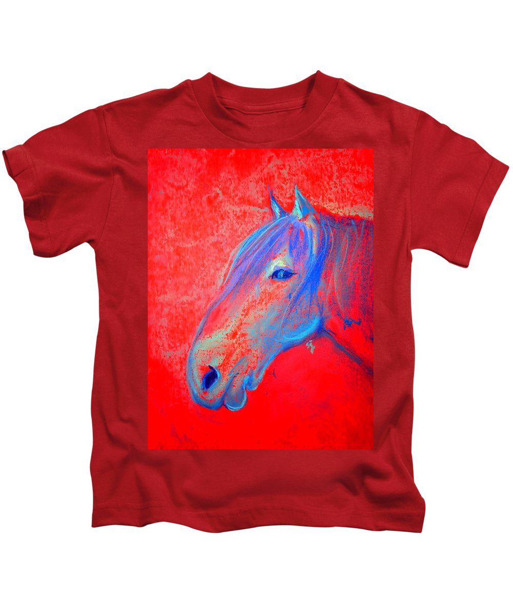 Animals Kids T-Shirt featuring the painting Funky Handsome Horse Blue by Sue Jacobi