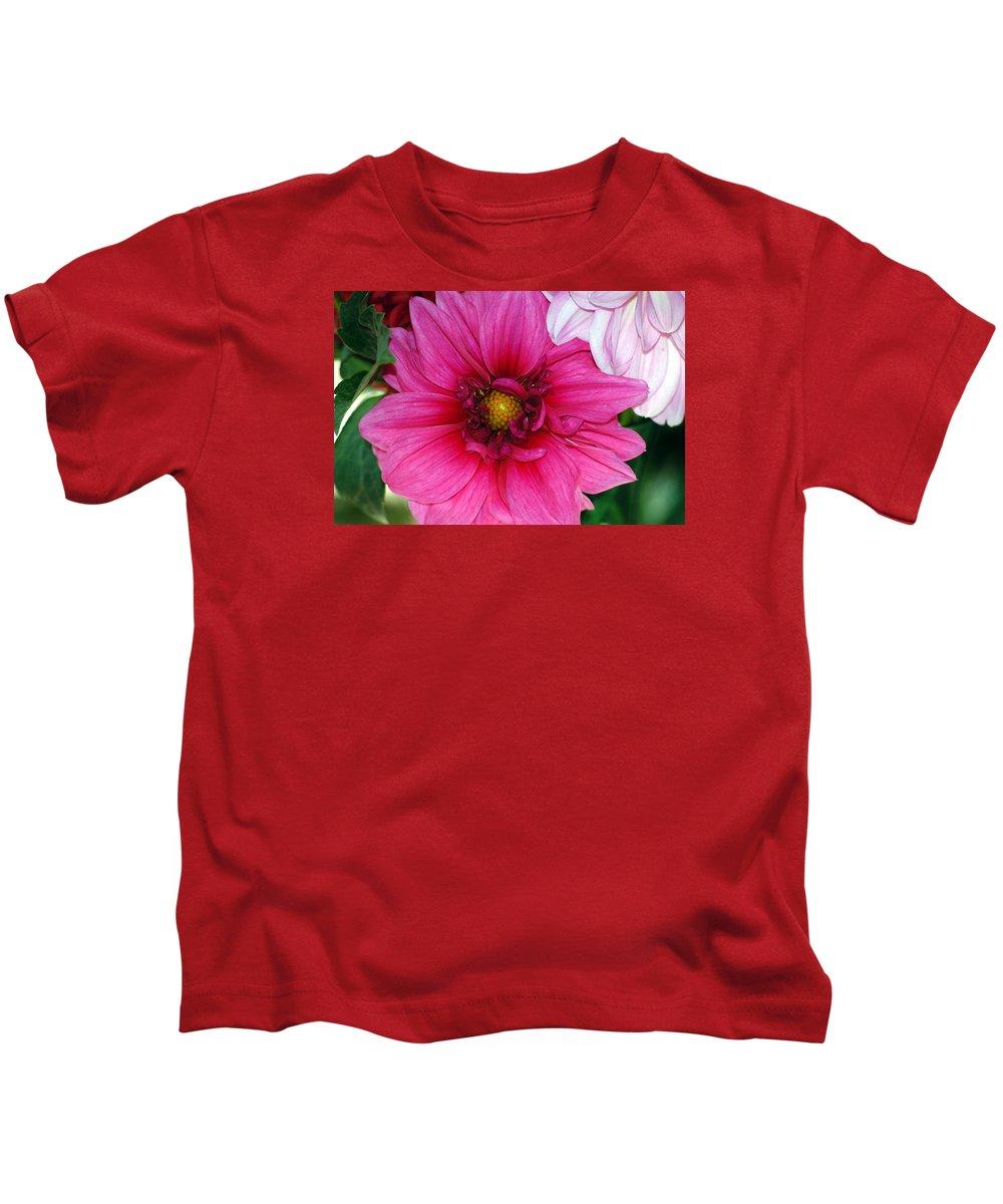 Dahlia Kids T-Shirt featuring the photograph Fushia Pink Dahlia by Lehua Pekelo-Stearns