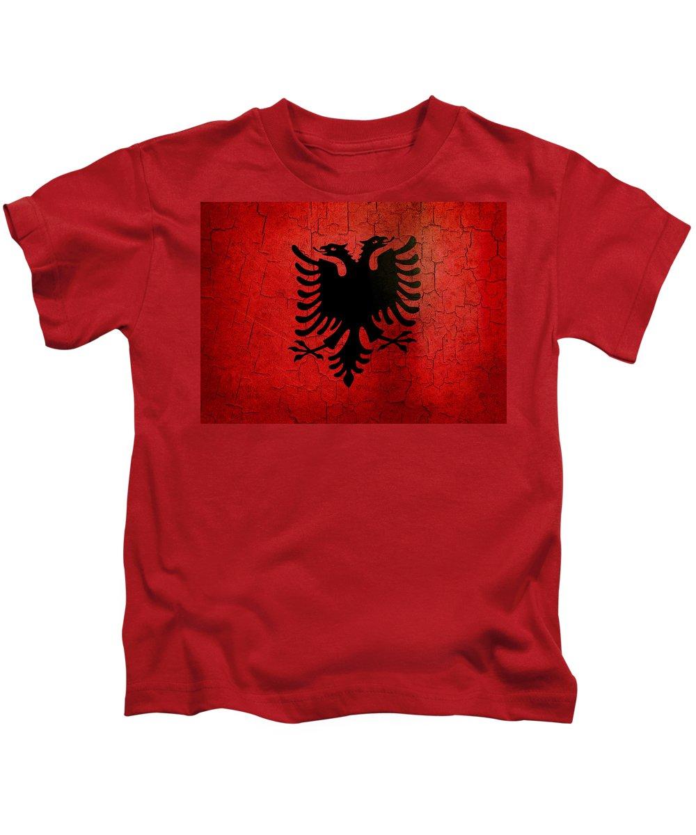 Aged Kids T-Shirt featuring the digital art Grunge Albania Flag by Steve Ball