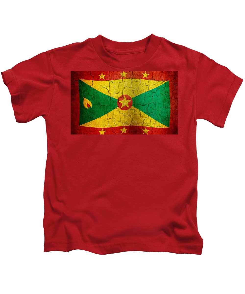 Aged Kids T-Shirt featuring the digital art Grunge Grenada Flag by Steve Ball