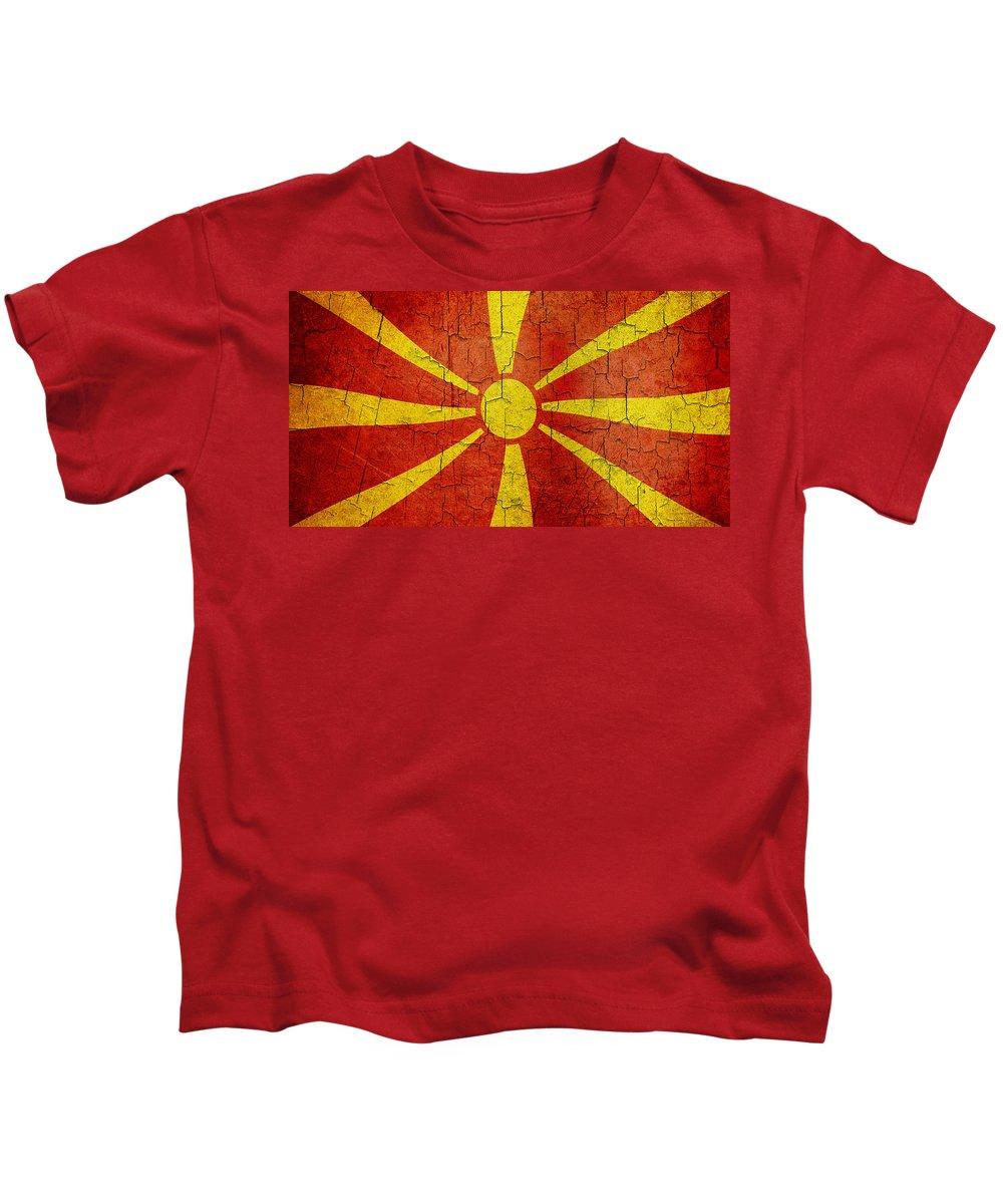 Aged Kids T-Shirt featuring the digital art Grunge Macedonia Flag by Steve Ball