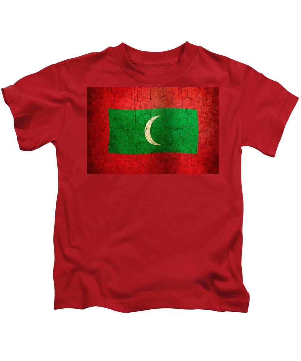 Aged Kids T-Shirt featuring the digital art Grunge Maldives Flag by Steve Ball