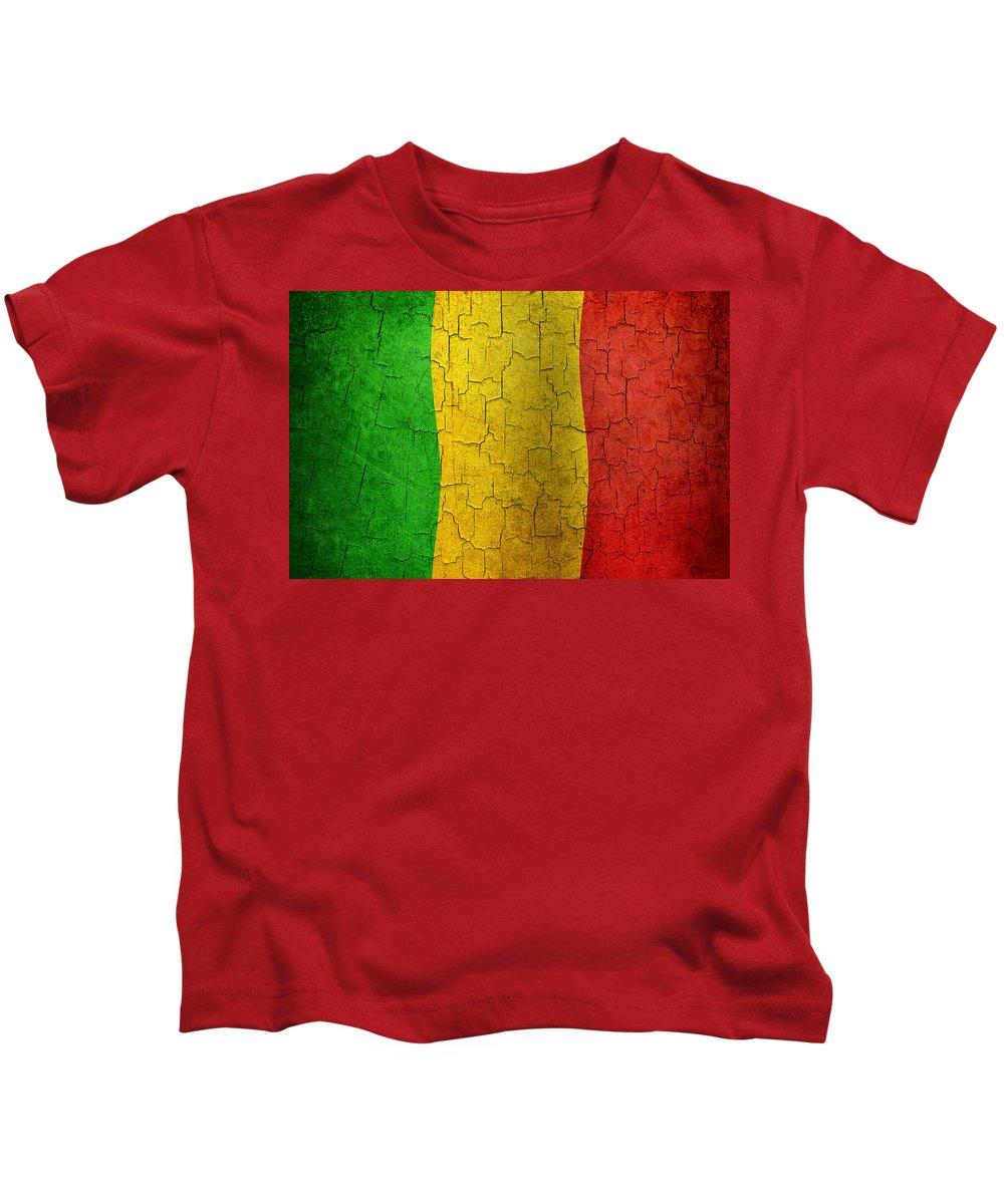 Aged Kids T-Shirt featuring the digital art Grunge Mali Flag by Steve Ball