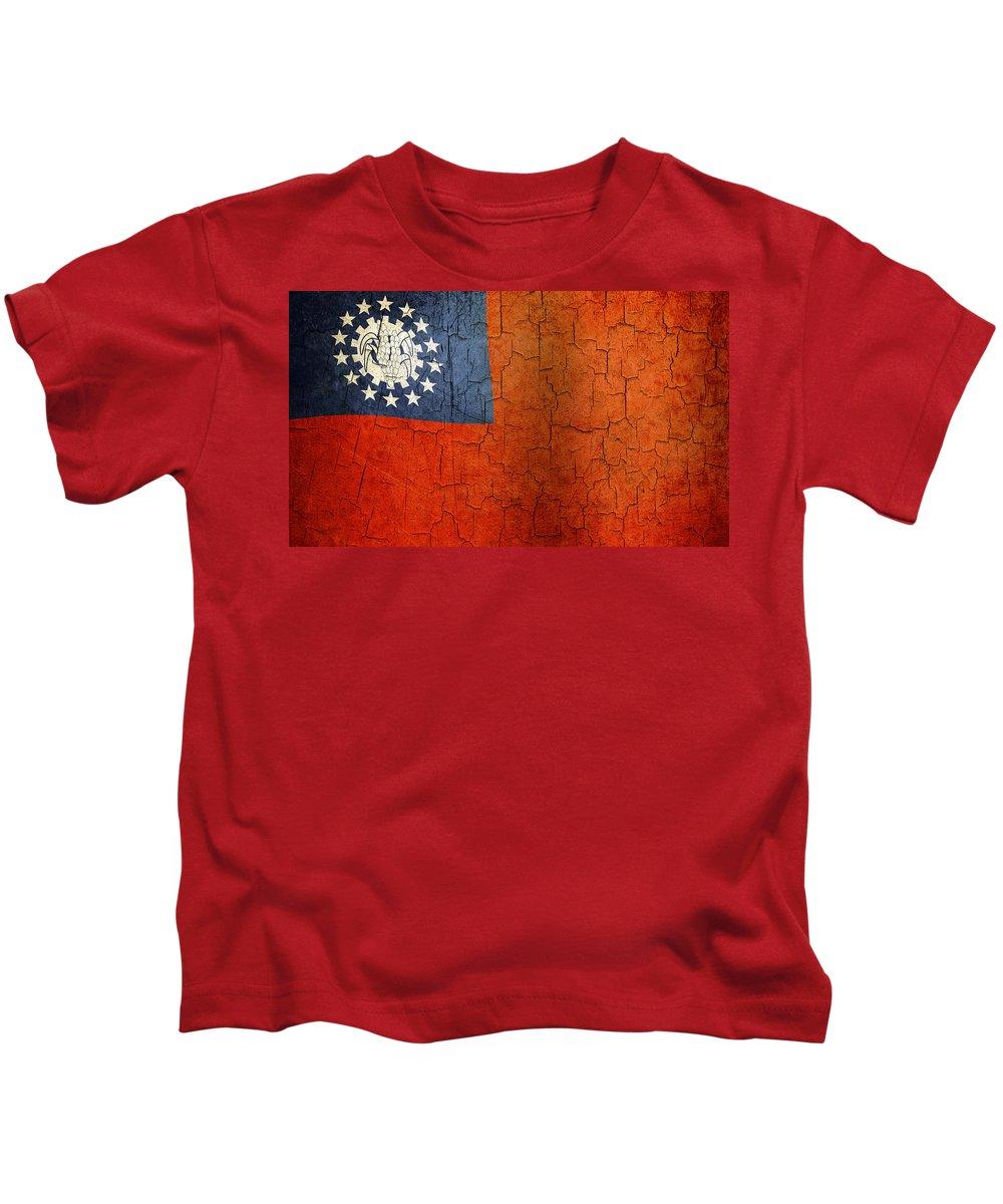 Aged Kids T-Shirt featuring the digital art Grunge Myanmar Flag by Steve Ball