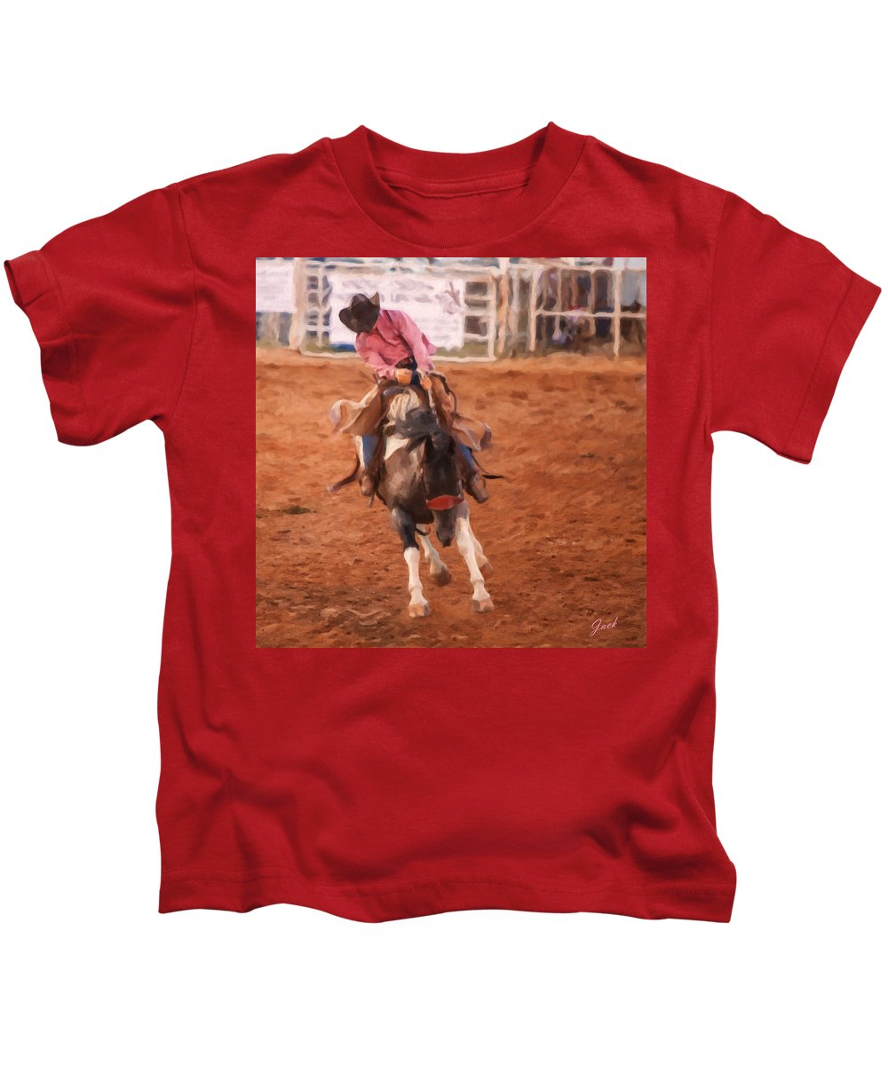 Cowboy Kids T-Shirt featuring the painting Hanging On by Jack Milchanowski