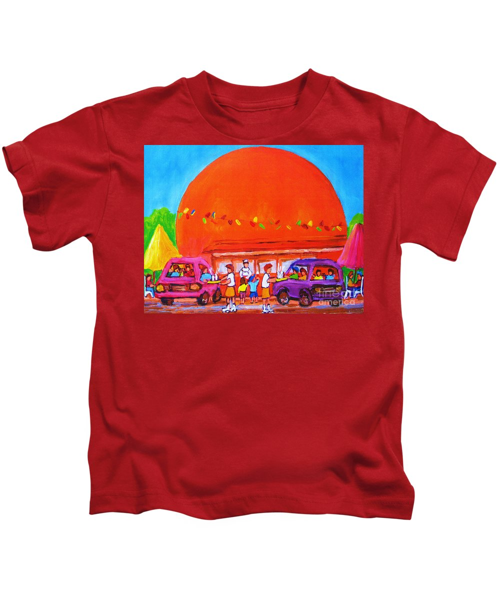Montreal Kids T-Shirt featuring the painting Happy Days At The Big Orange by Carole Spandau