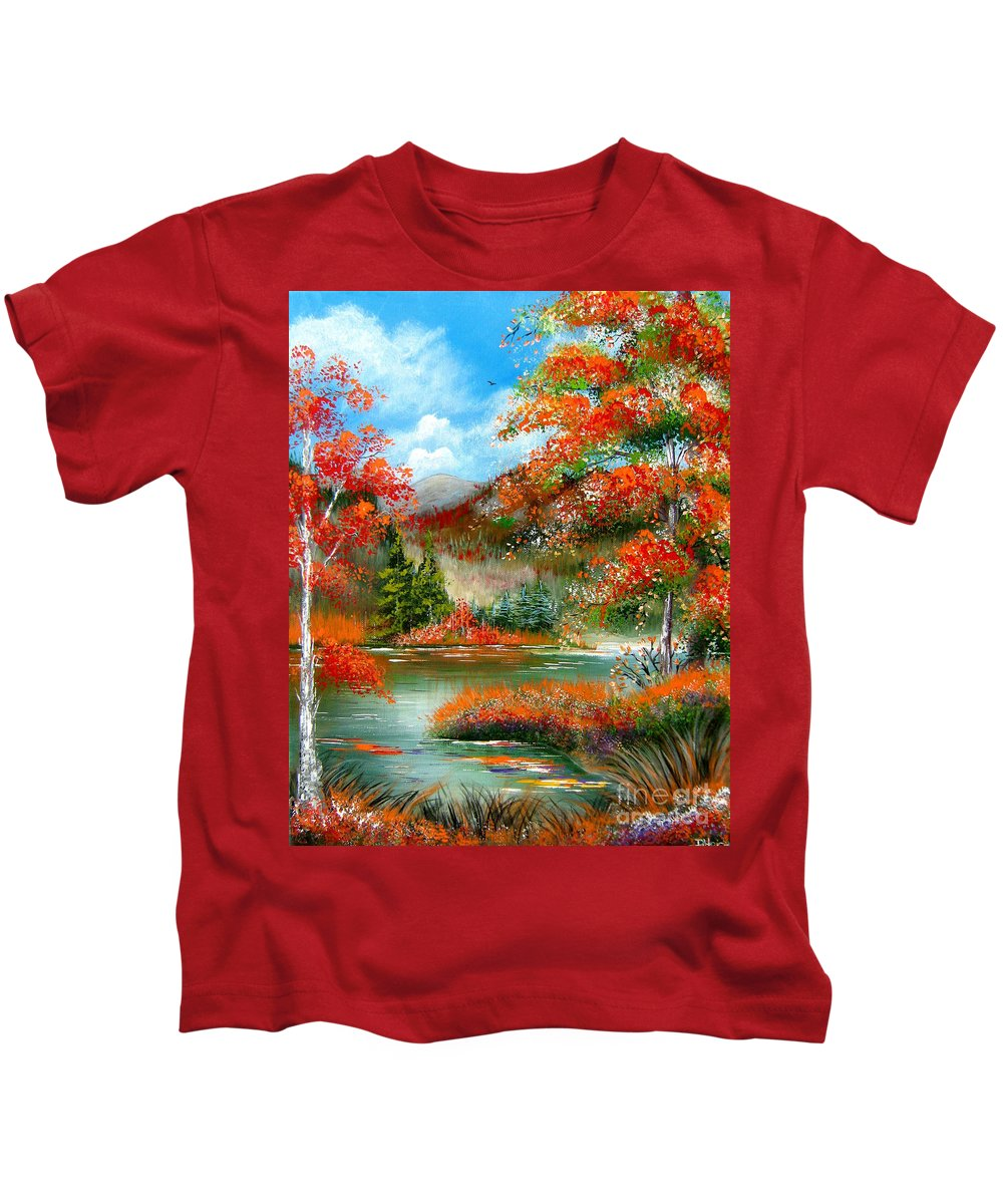 Fall Kids T-Shirt featuring the painting Happy Ever After Autumn by Patrice Torrillo