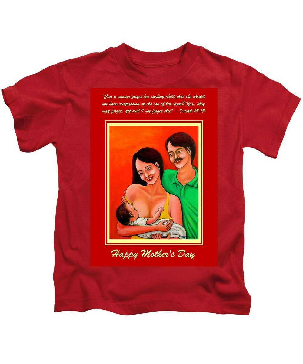 Family Kids T-Shirt featuring the mixed media Happy Family by Cyril Maza