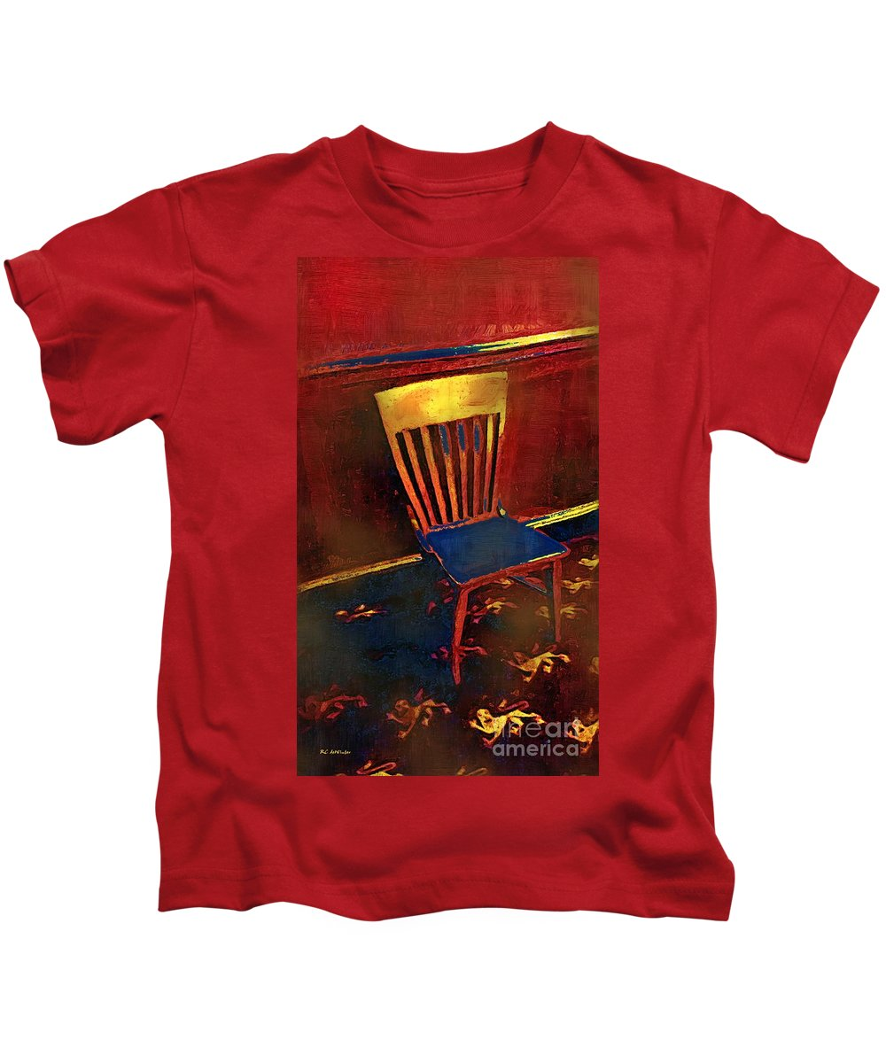 Chair Kids T-Shirt featuring the painting Hotseat In Hell by RC DeWinter