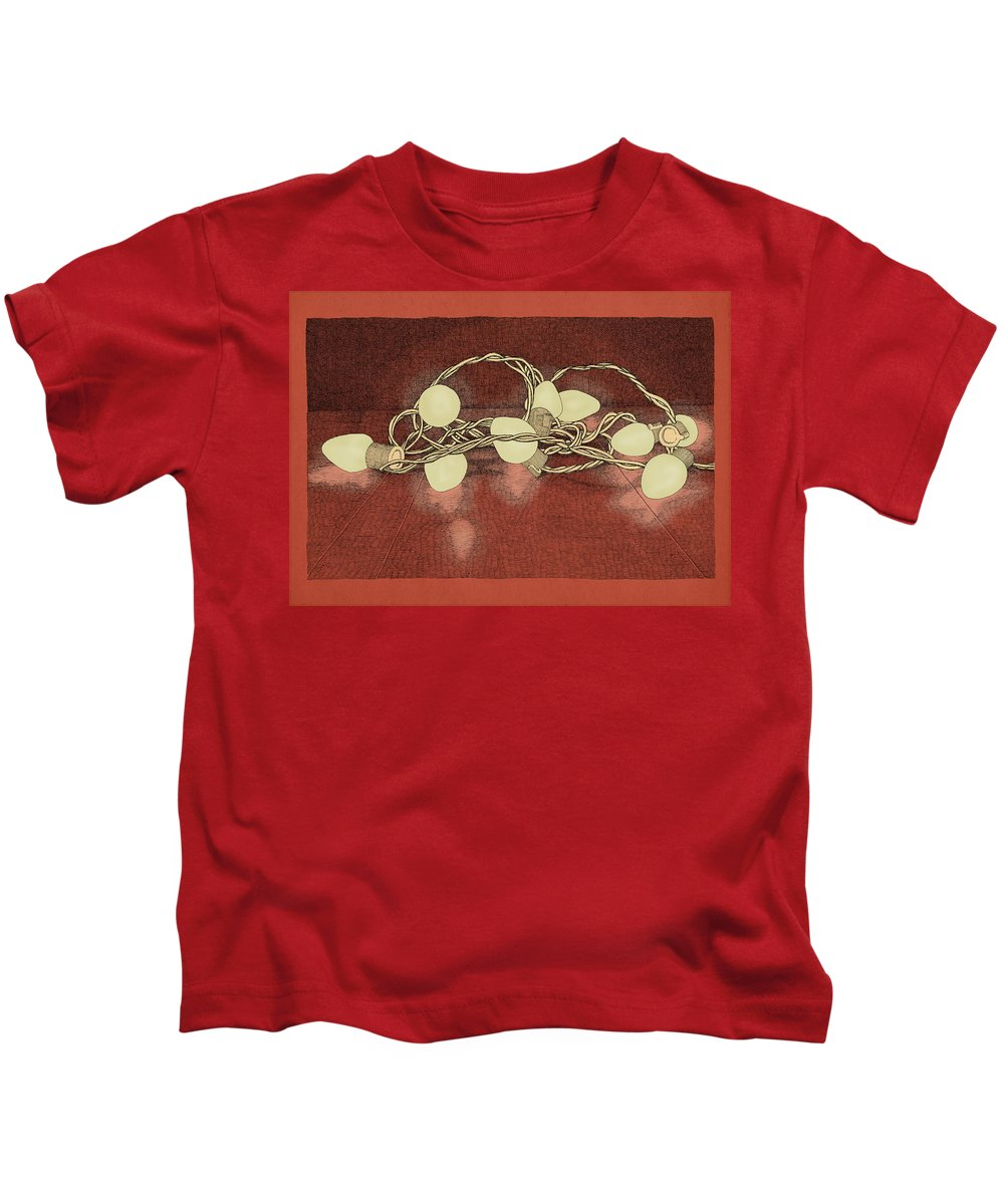 Lights Holiday Christmas Red Kids T-Shirt featuring the drawing Illumination Variation #2 by Meg Shearer