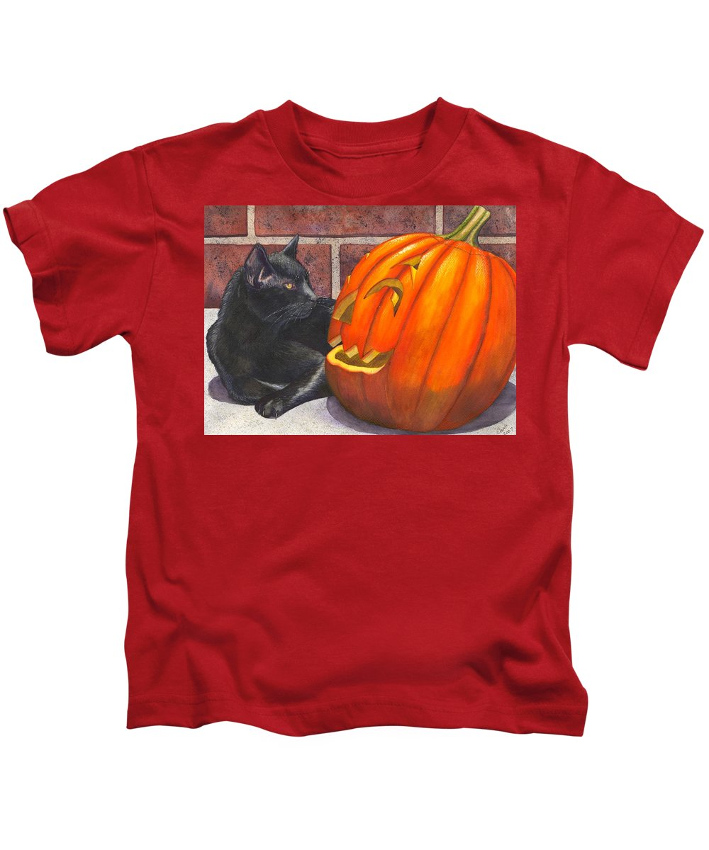Cat Kids T-Shirt featuring the painting Inside Joke by Catherine G McElroy