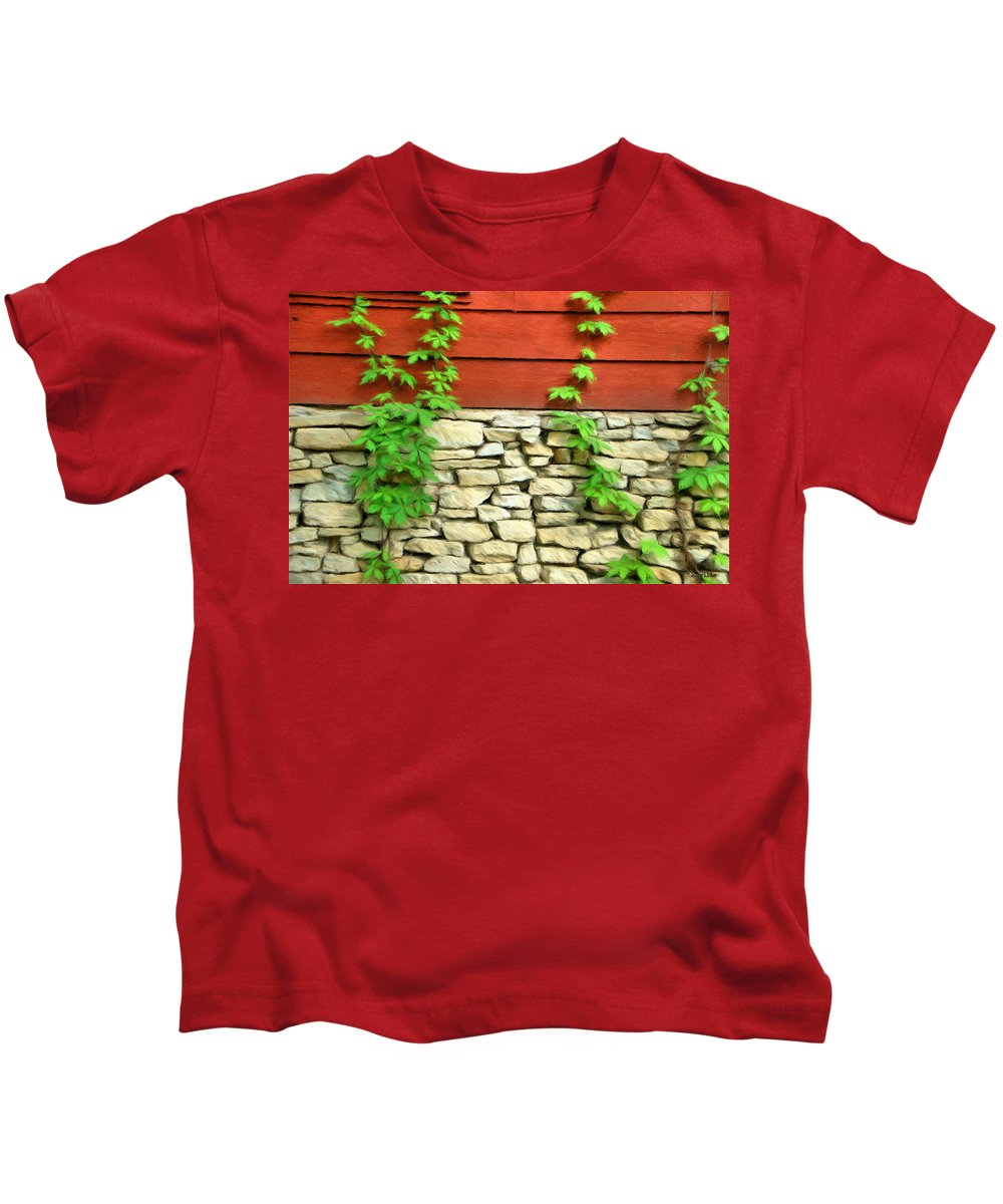 Architecture Kids T-Shirt featuring the painting Ivy On Stone And Wood by Jeffrey Kolker