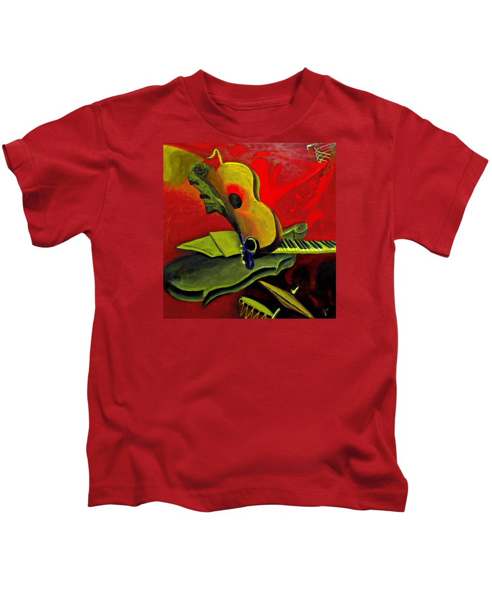 Abstract Kids T-Shirt featuring the painting Jazz Infusion by Fli Art
