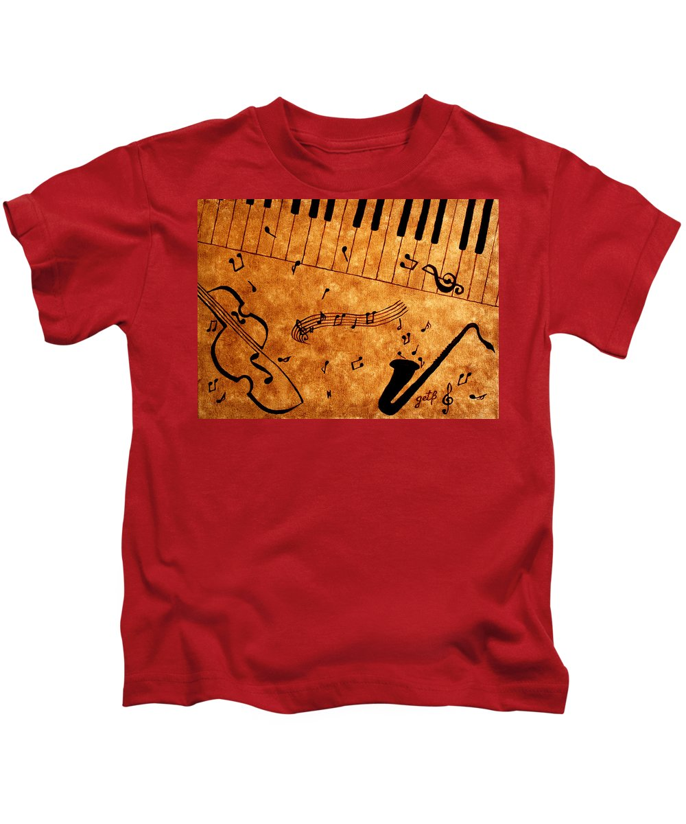 Abstract Jazz Music Kids T-Shirt featuring the painting Jazz Music Coffee Painting by Georgeta Blanaru