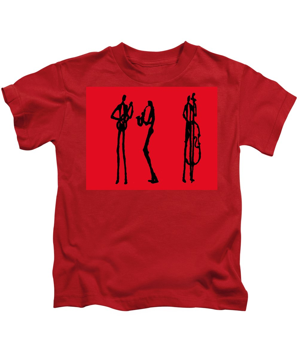 Jazz Kids T-Shirt featuring the painting Jazz Trio In Red 2 by Rhodes Rumsey