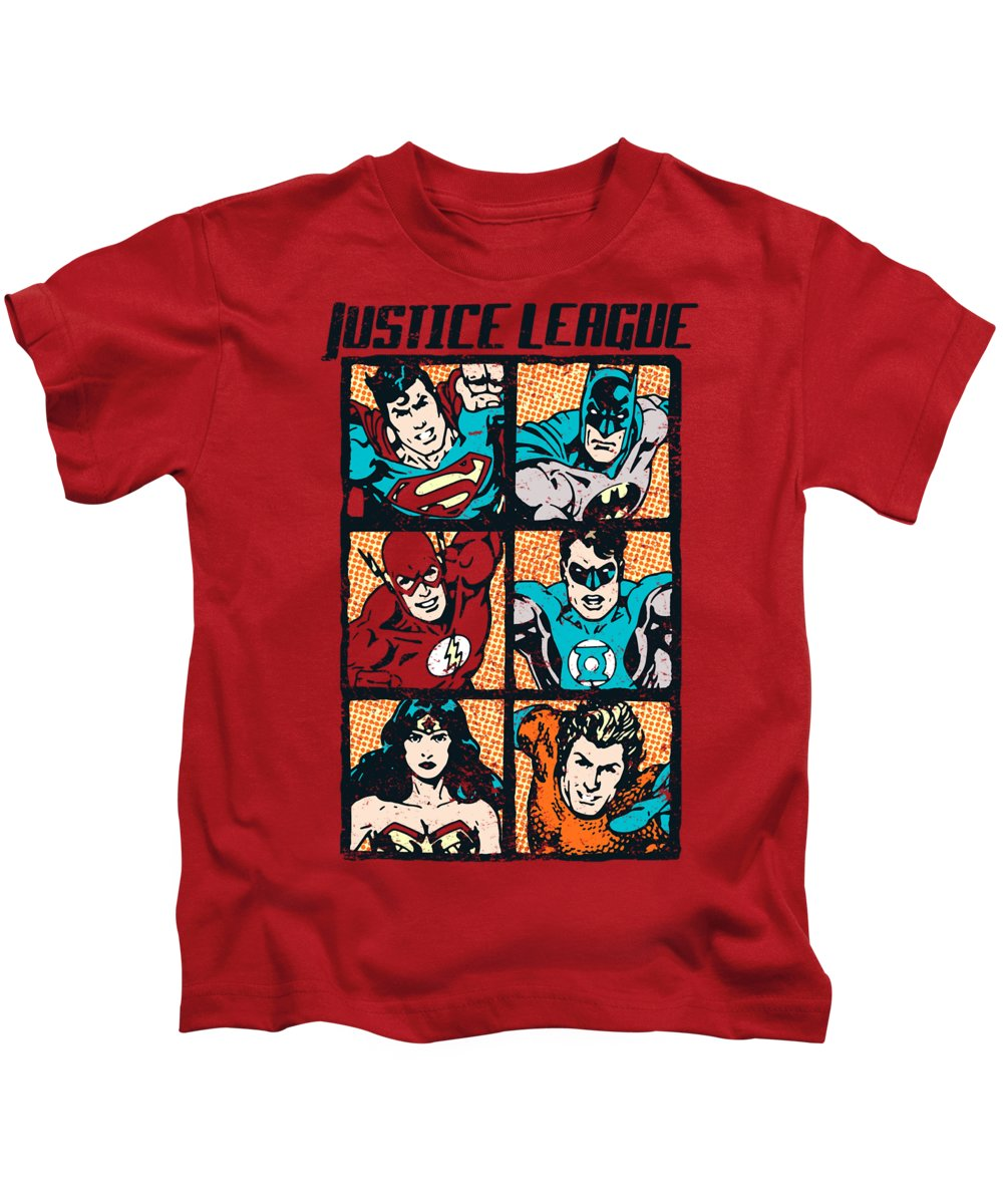 Kids T-Shirt featuring the digital art Jla - Rough Panels by Brand A