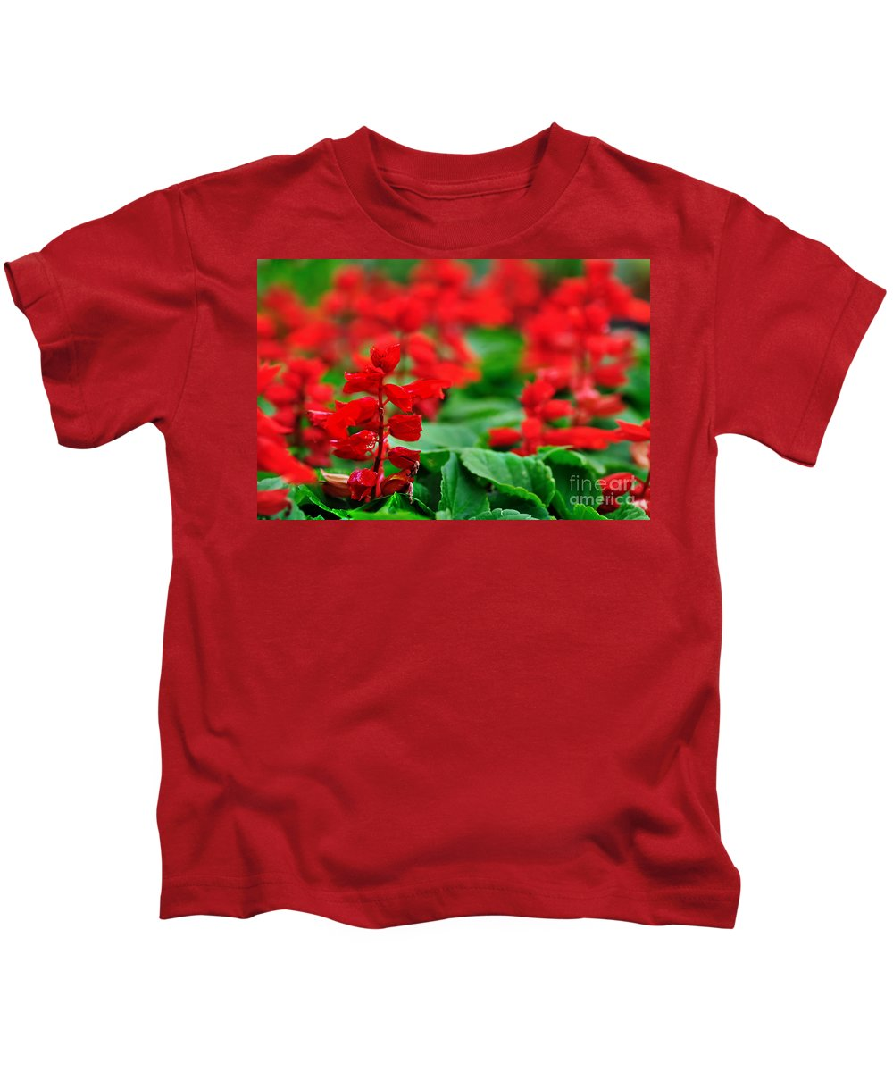 Photography Kids T-Shirt featuring the photograph Just Red by Kaye Menner