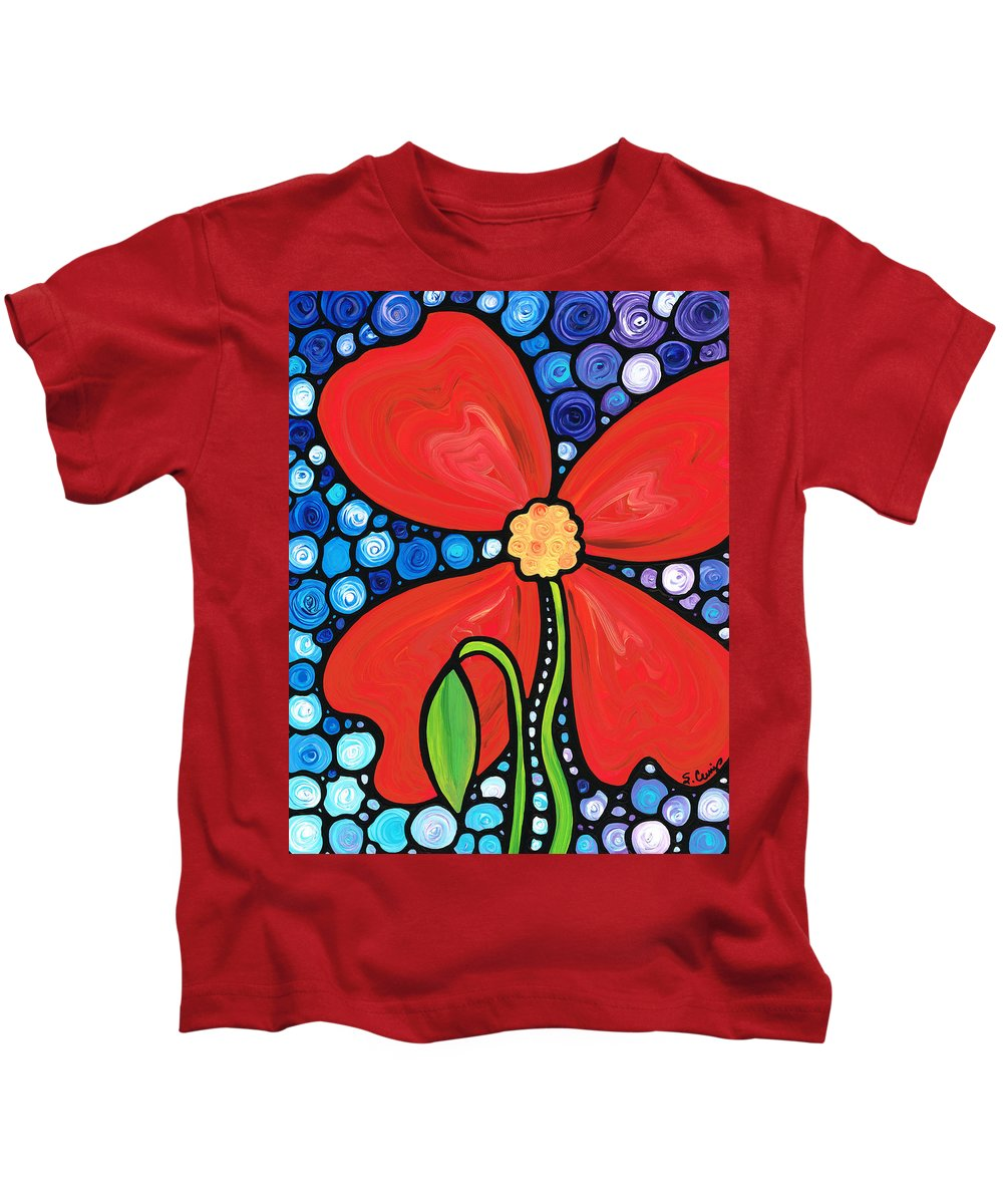Red Poppy Kids T-Shirt featuring the painting Lady In Red 2 - Buy Poppy Prints Online by Sharon Cummings