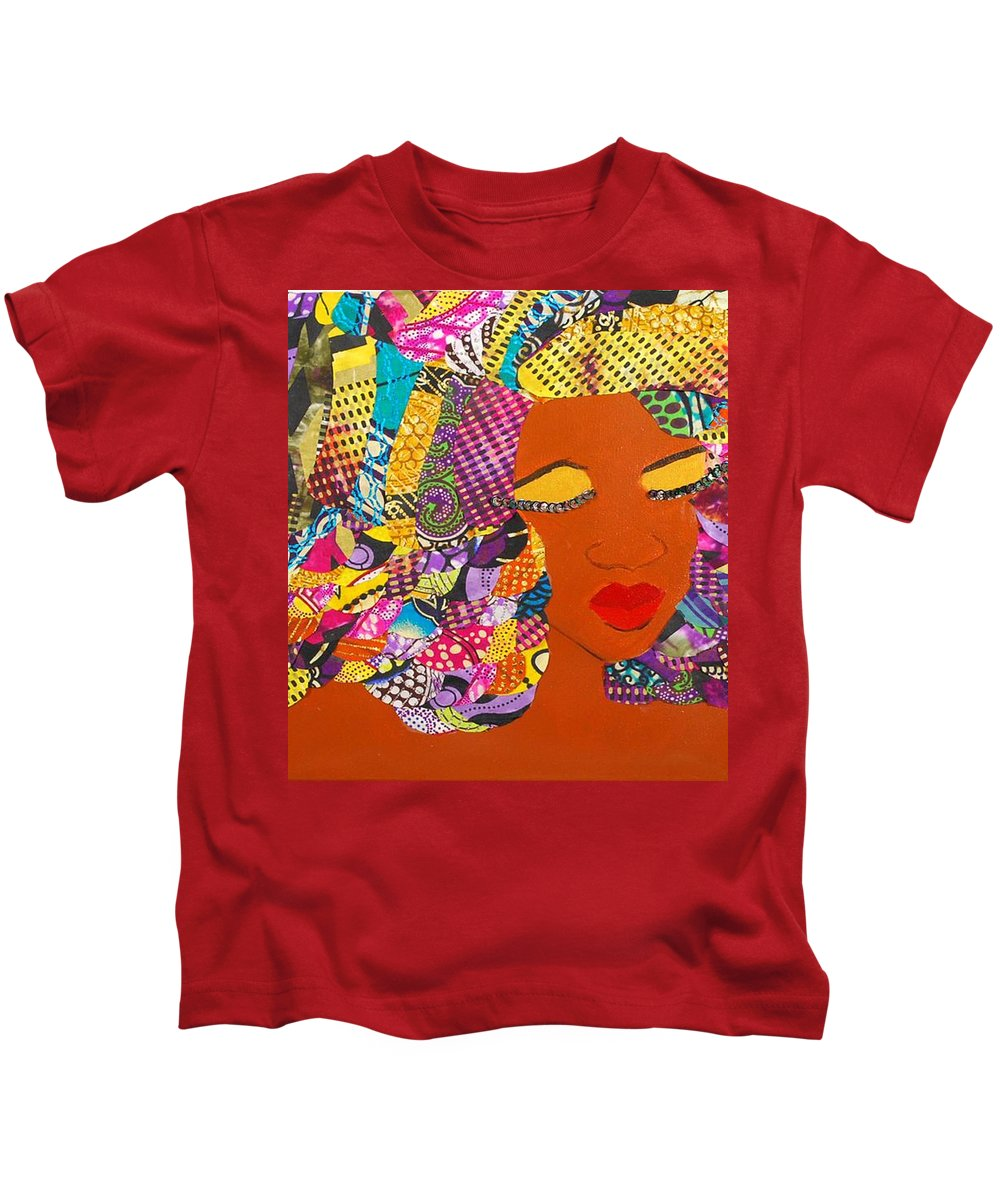 Afro Art Kids T-Shirt featuring the tapestry - textile Lady J by Apanaki Temitayo M
