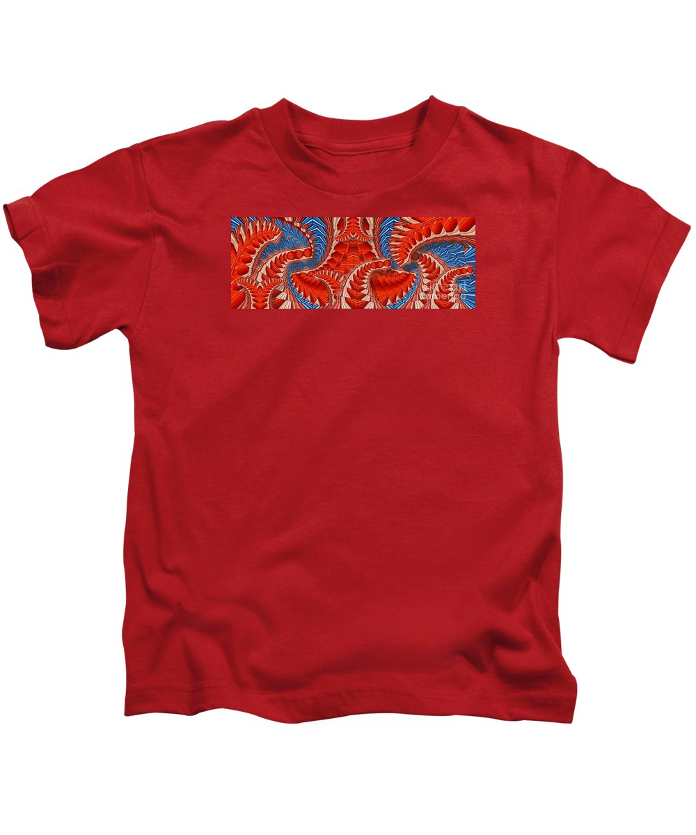 Abstract Kids T-Shirt featuring the digital art Leaf Pattern In Red by Ron Bissett