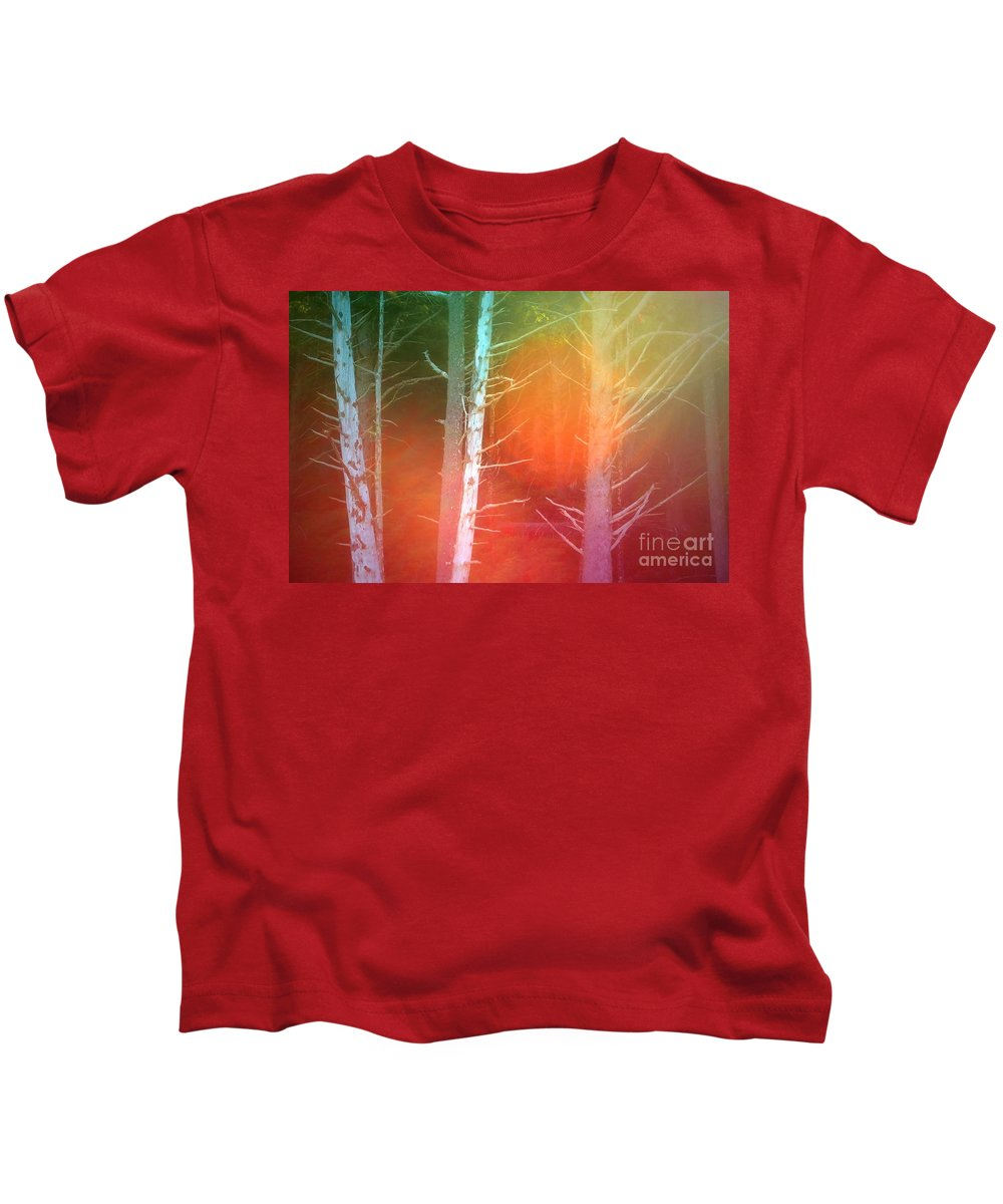 Tree Kids T-Shirt featuring the photograph Lens Flare In The Forest by Tara Turner