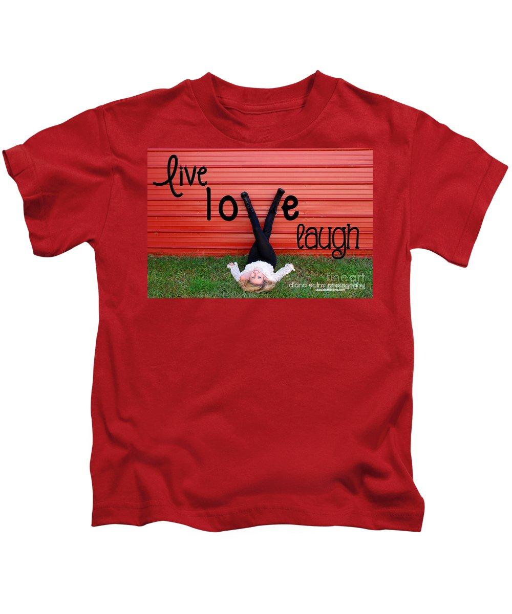 Senior Portrait Work Kids T-Shirt featuring the photograph Live Love Laugh By Diana Sainz by Diana Raquel Sainz