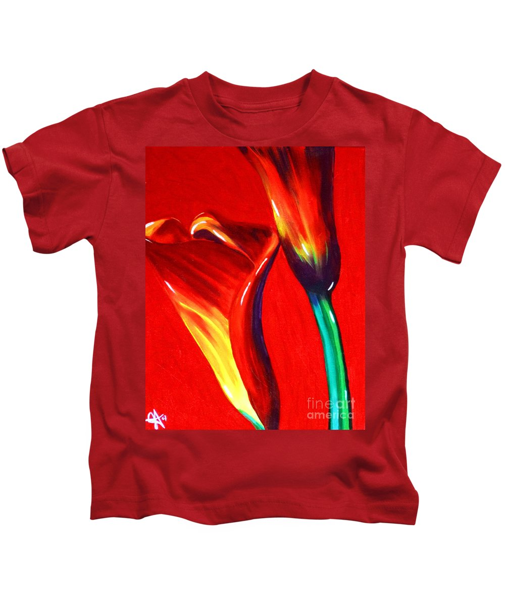 Love Kids T-Shirt featuring the painting Love Lilies by Jackie Carpenter