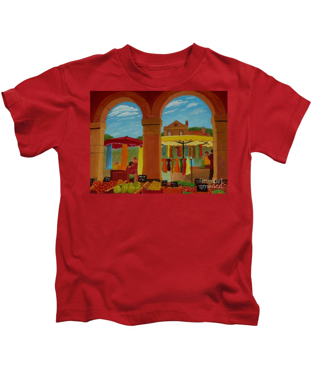 Landscape Kids T-Shirt featuring the painting Market Day by Anthony Dunphy