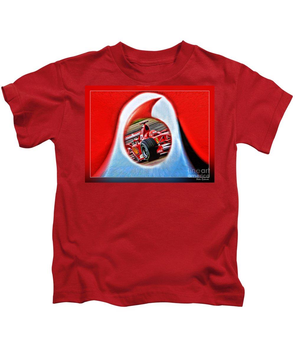 Formula One Photographs Digital Art Kids T-Shirt featuring the photograph Michael Schumacher Though The Logo by Blake Richards
