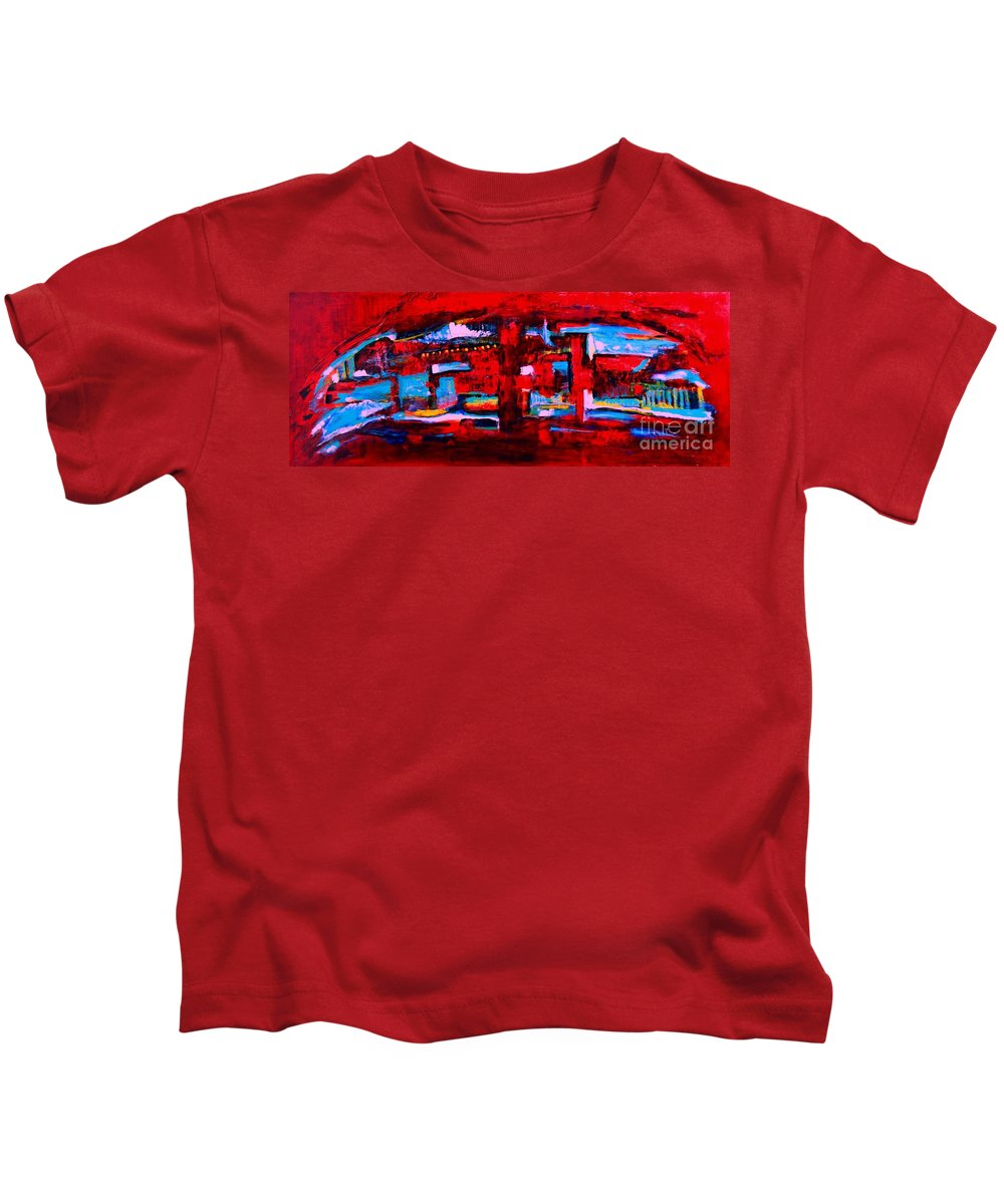 Original Kids T-Shirt featuring the painting Midnight In The City by ElsaDe Paintings