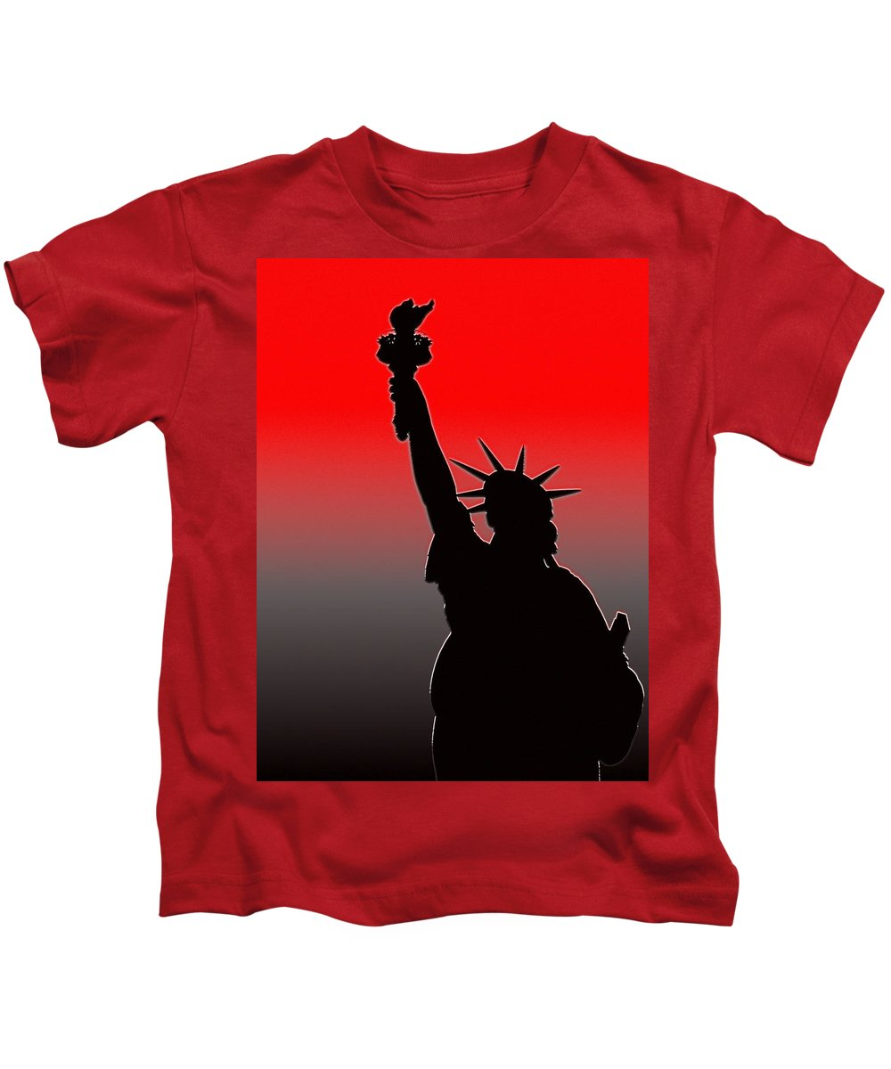 New York Kids T-Shirt featuring the photograph Miss Liberty Abstract by Jeff Watts