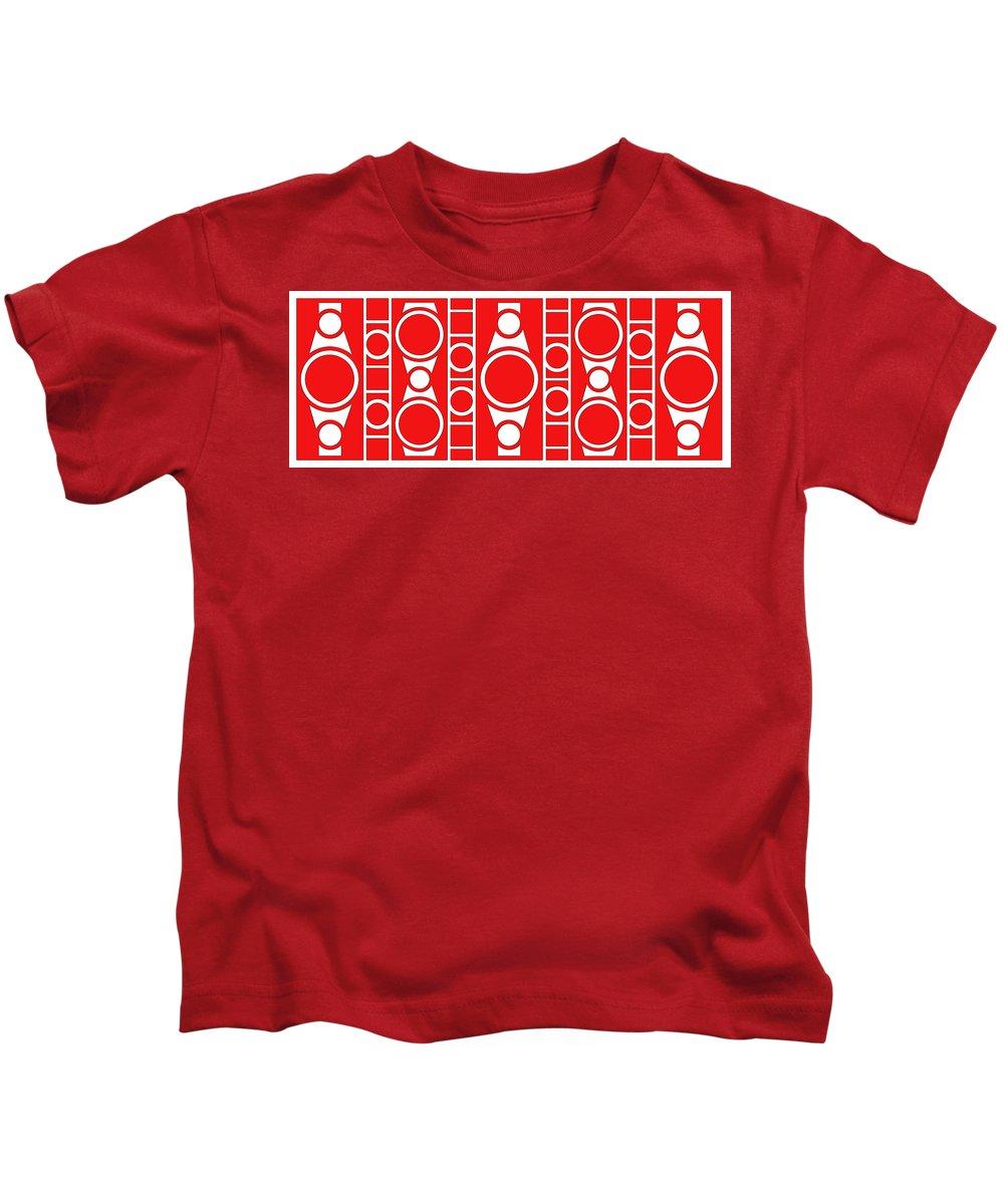 Red & White Kids T-Shirt featuring the digital art Modern Design II by Mike McGlothlen