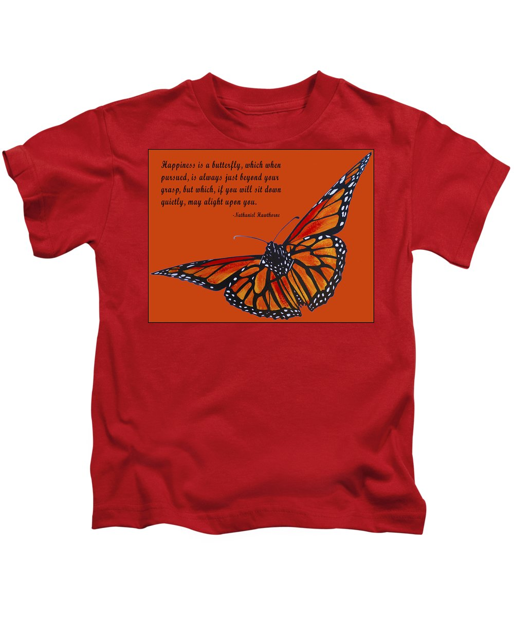 Monarch Butterfly Pismo Beach Kids T-Shirt featuring the digital art Monarch Butterfly Pismo Beach by Barbara Snyder