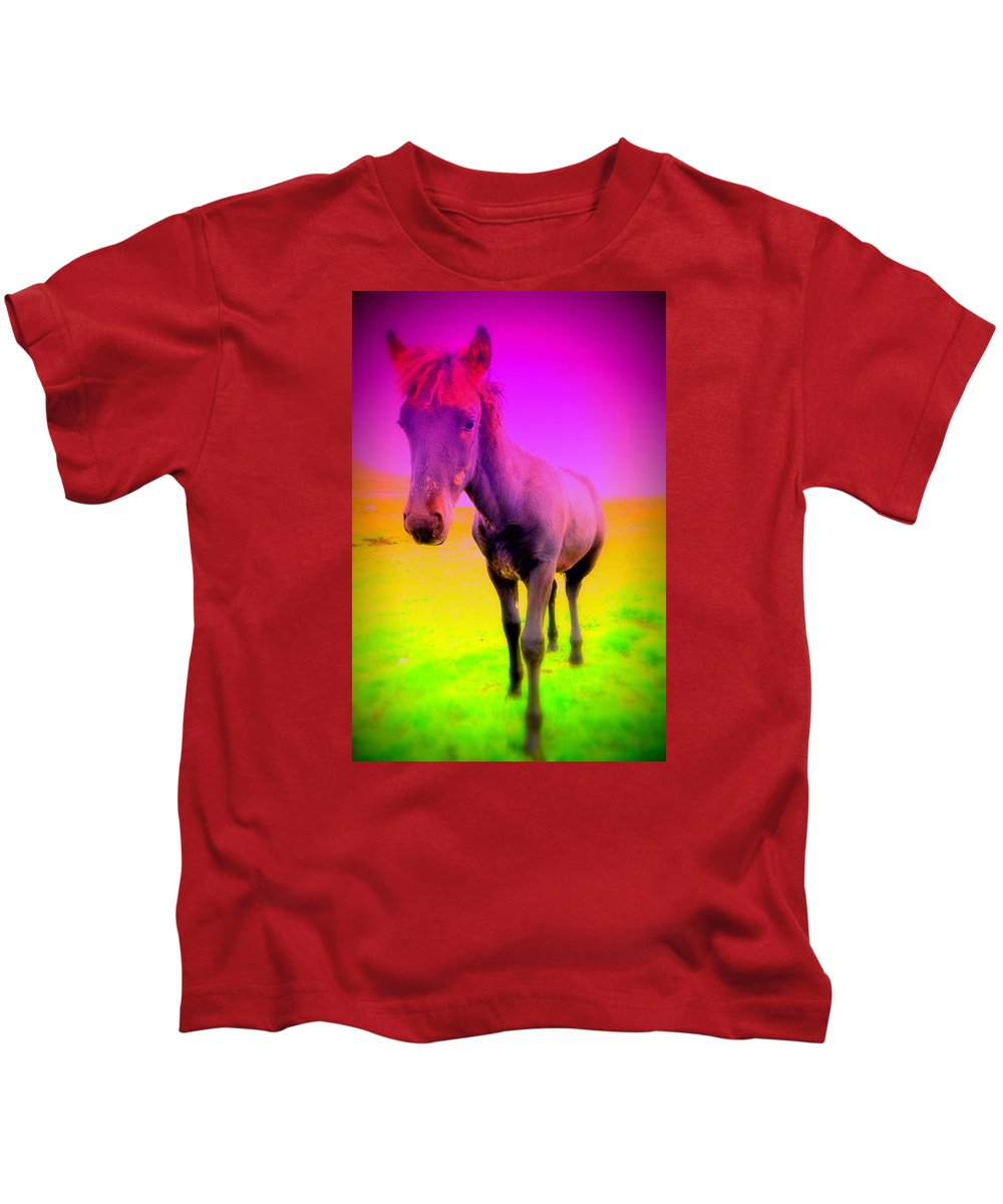 Horse Kids T-Shirt featuring the photograph My Dream Comes Through And It's A Little Friend by Hilde Widerberg