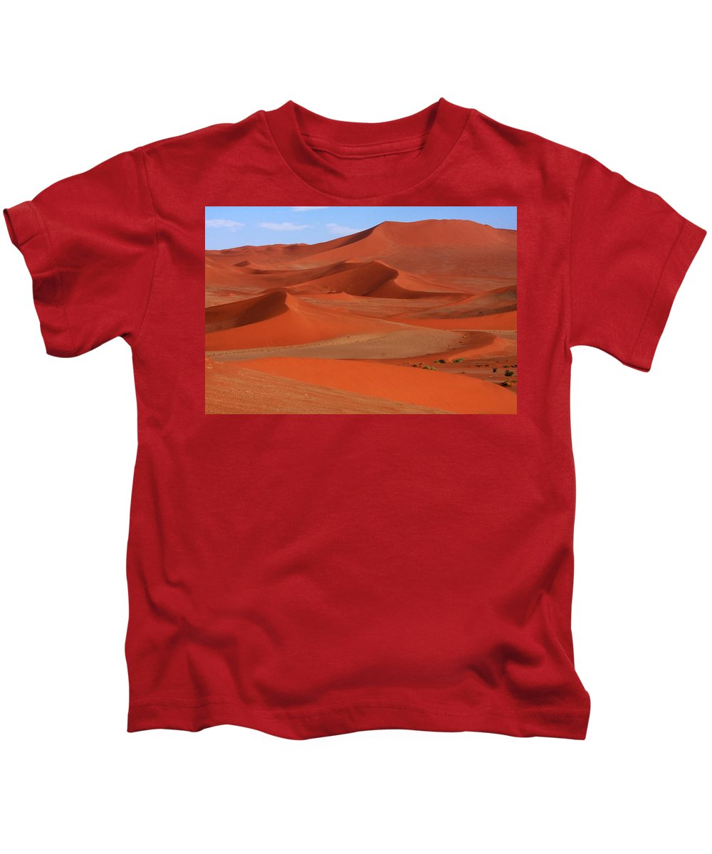 Namibia Kids T-Shirt featuring the photograph Namibian Red Sand Dunes by Aidan Moran