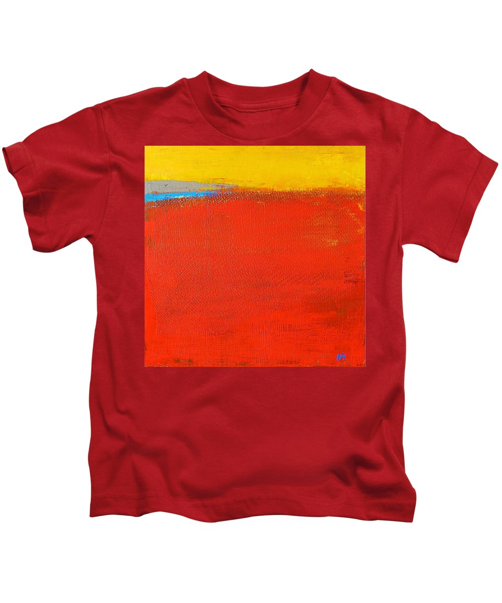 Landscape Kids T-Shirt featuring the painting Nature Rouge by Habib Ayat