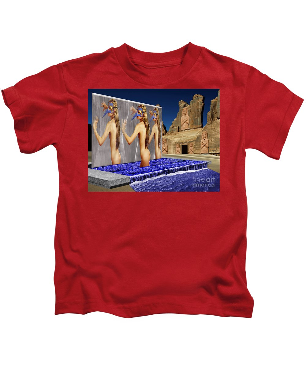 Landscape Kids T-Shirt featuring the digital art New Monument For The 3 Goddesses by Keith Dillon