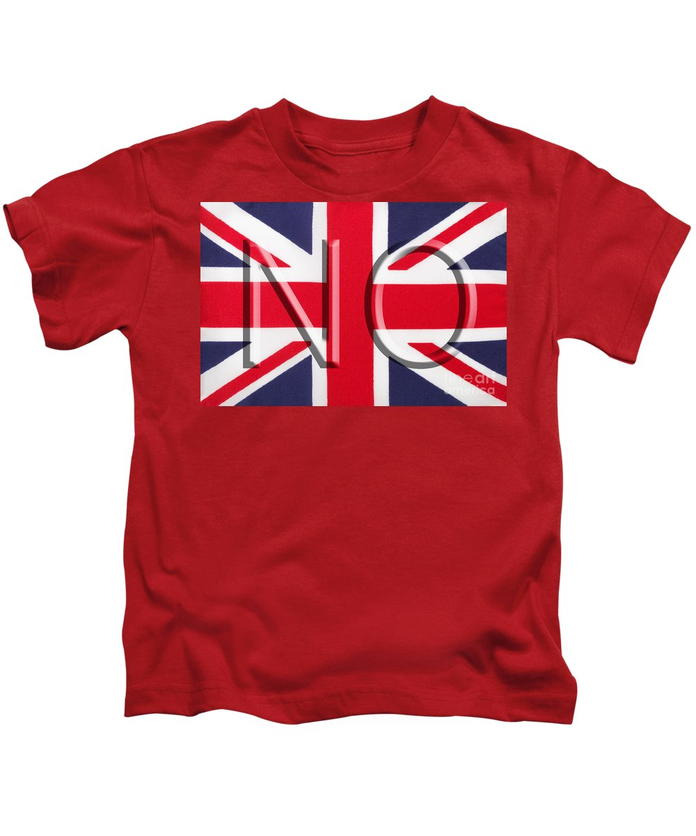 Union Jack Kids T-Shirt featuring the photograph NO by Diane Macdonald