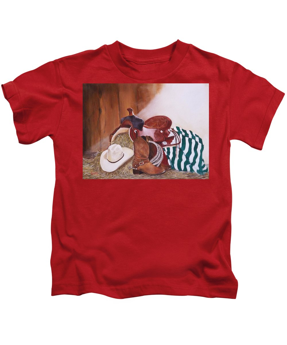 Saddle Kids T-Shirt featuring the painting Old Boots N' New Saddle by Barry BLAKE