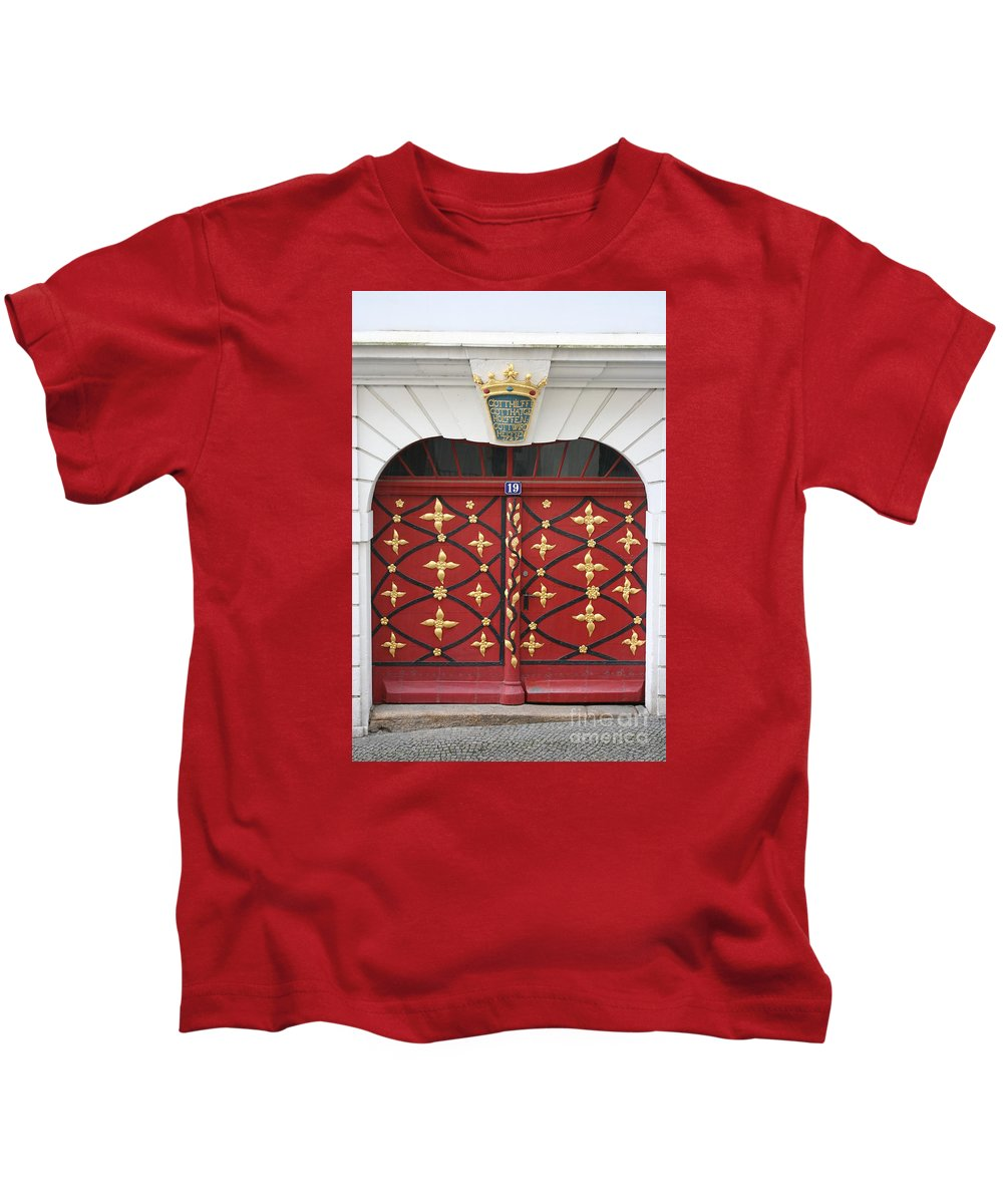 Door Kids T-Shirt featuring the photograph Old Red Door by Christiane Schulze Art And Photography