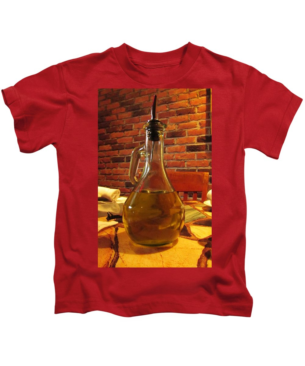 Olives Kids T-Shirt featuring the photograph Olive Oil On Table by Cynthia Guinn