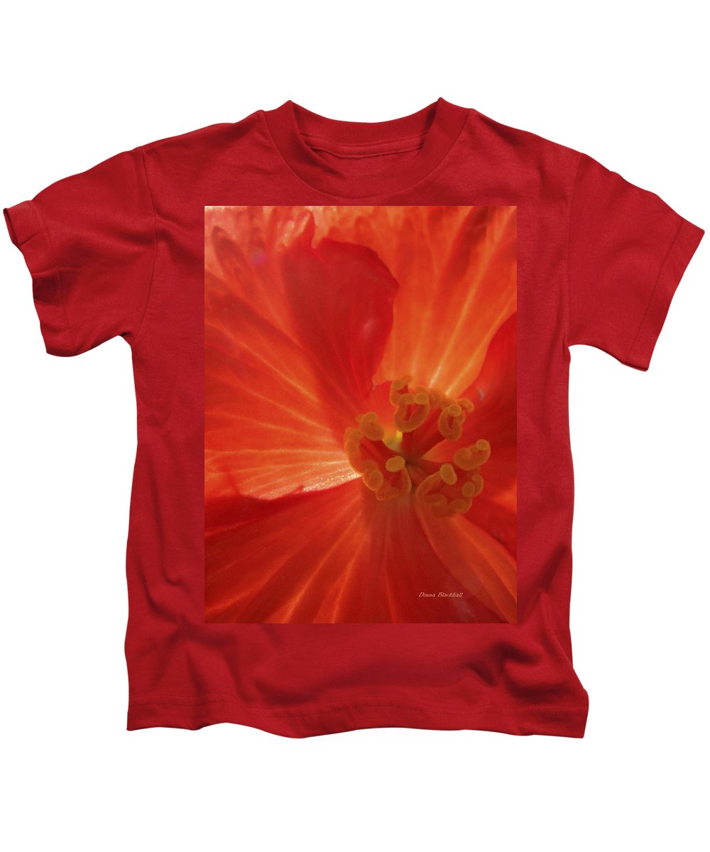 Flower Kids T-Shirt featuring the photograph On Fire For You by Donna Blackhall