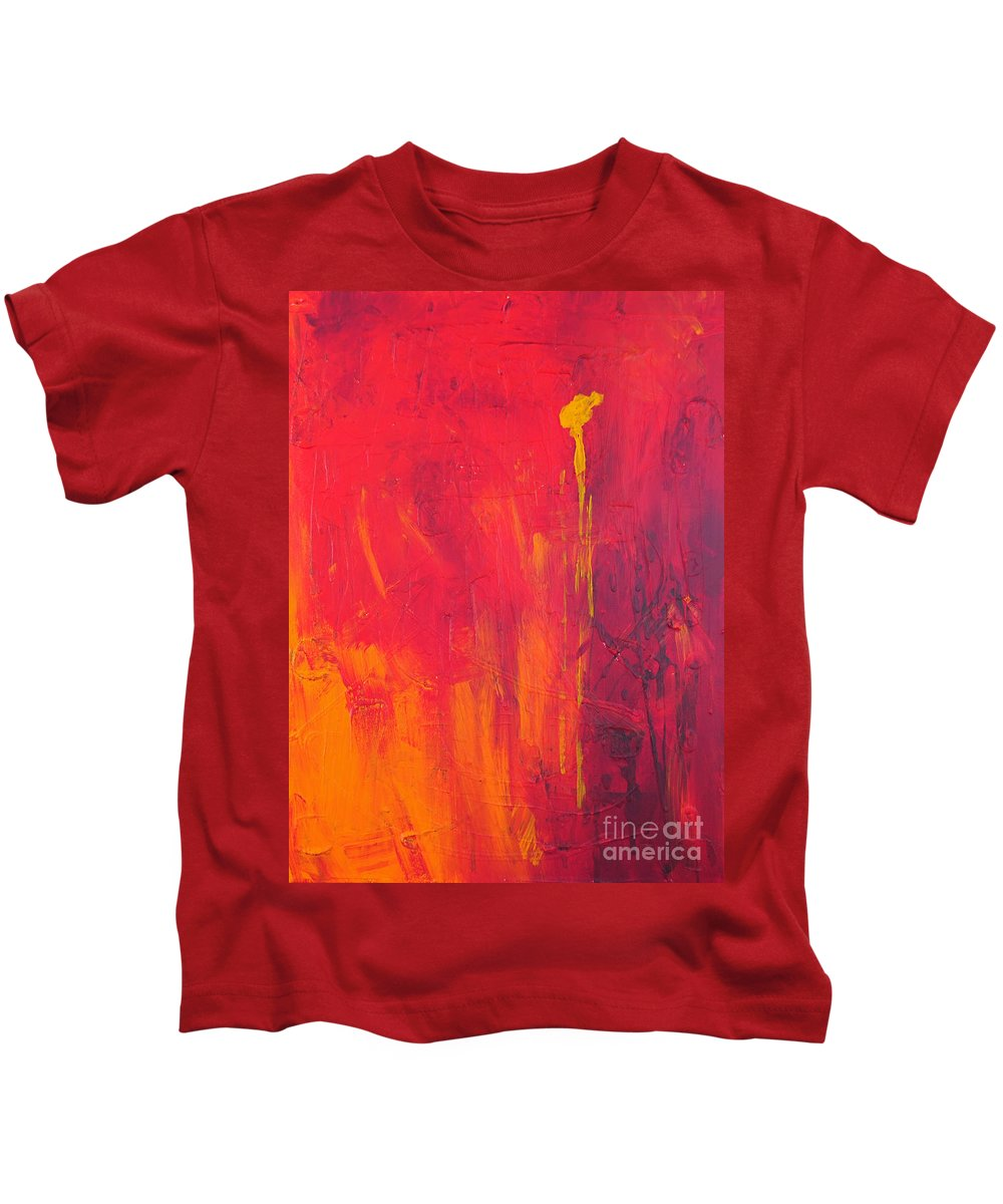 Yellow Kids T-Shirt featuring the painting One Big Coverup by Paulette B Wright