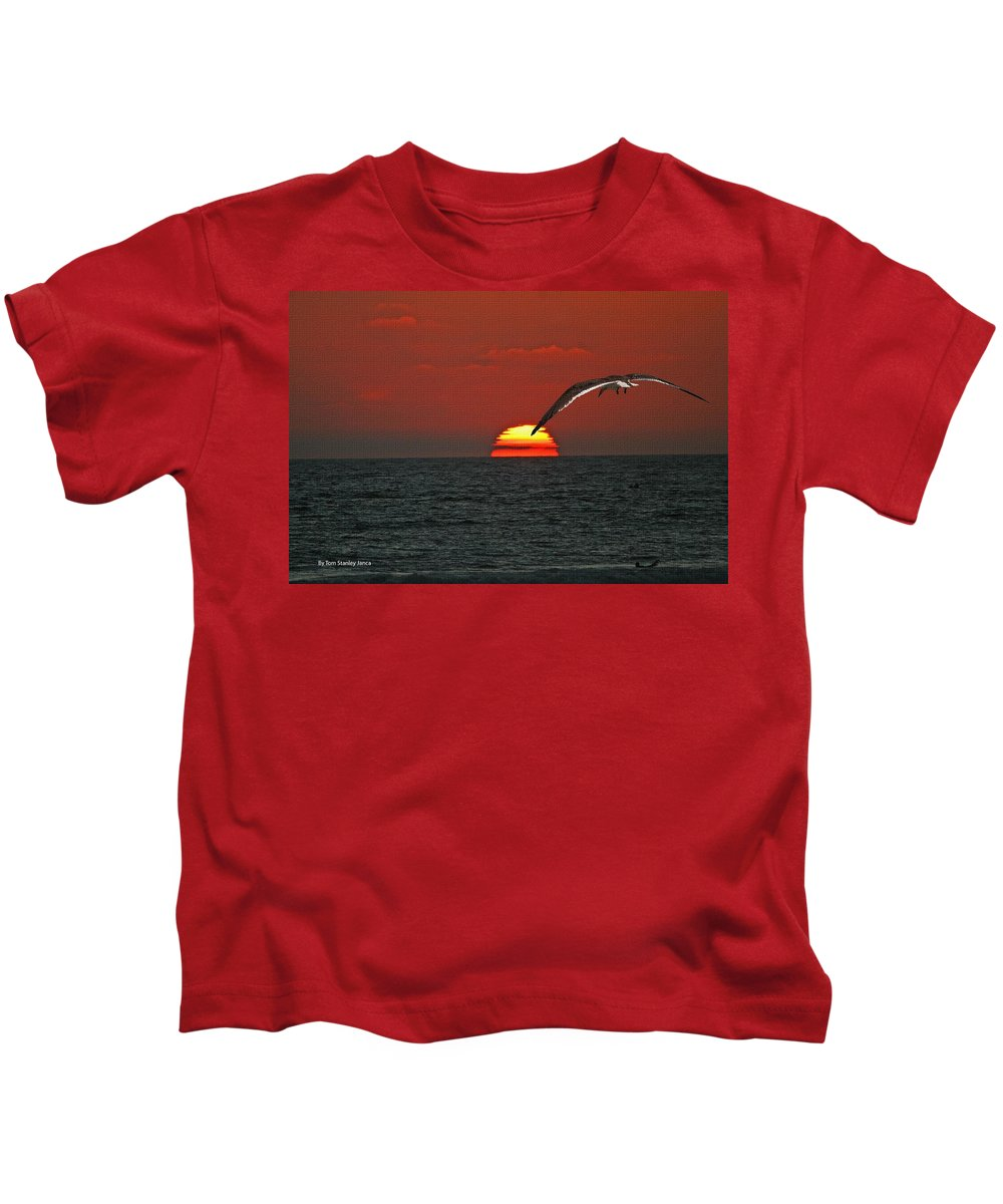 Black Skimmers Kids T-Shirt featuring the photograph One Black Skimmers At Sunset by Tom Janca