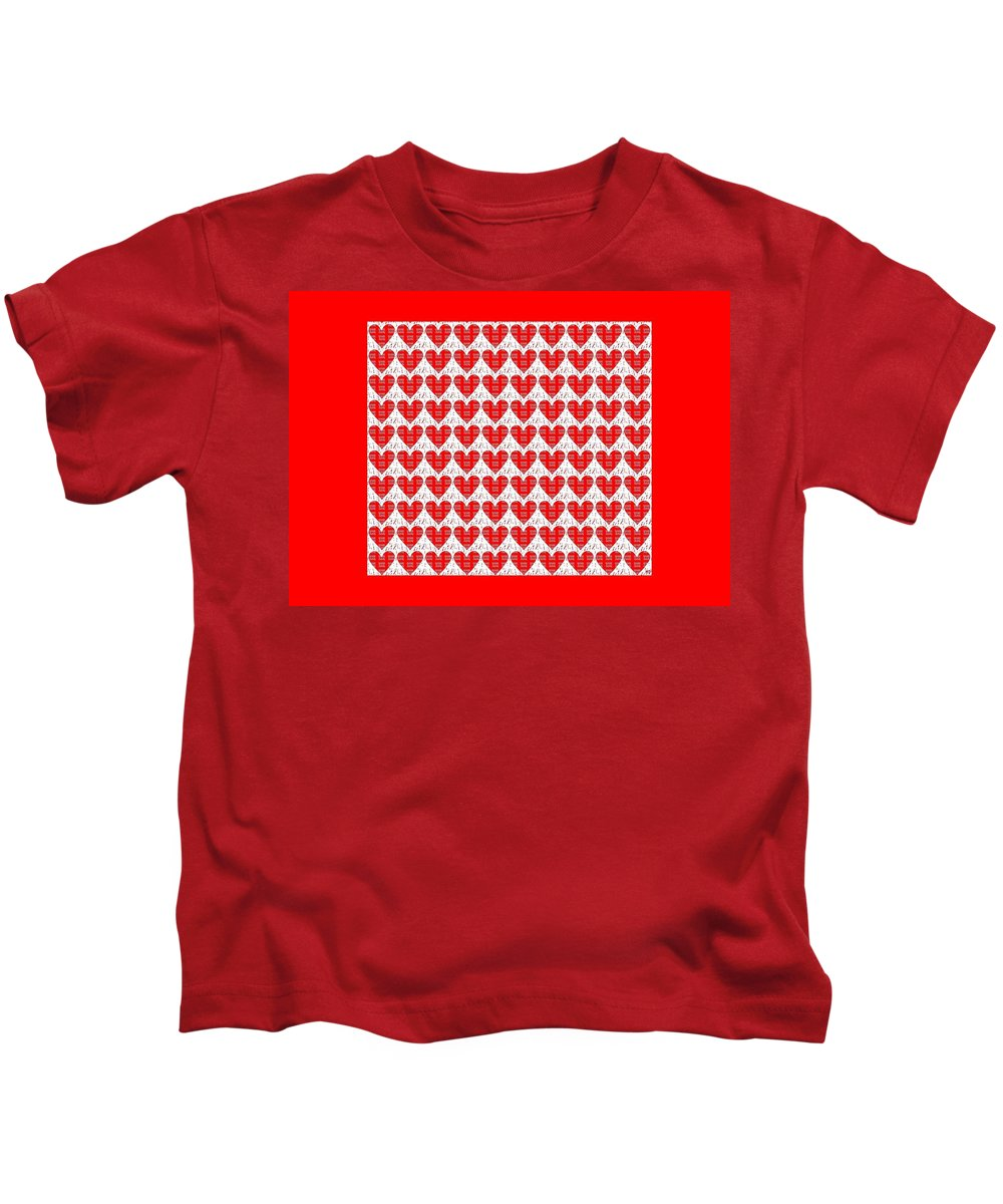 Love Kids T-Shirt featuring the digital art One Hundred Hearts by Helena Tiainen