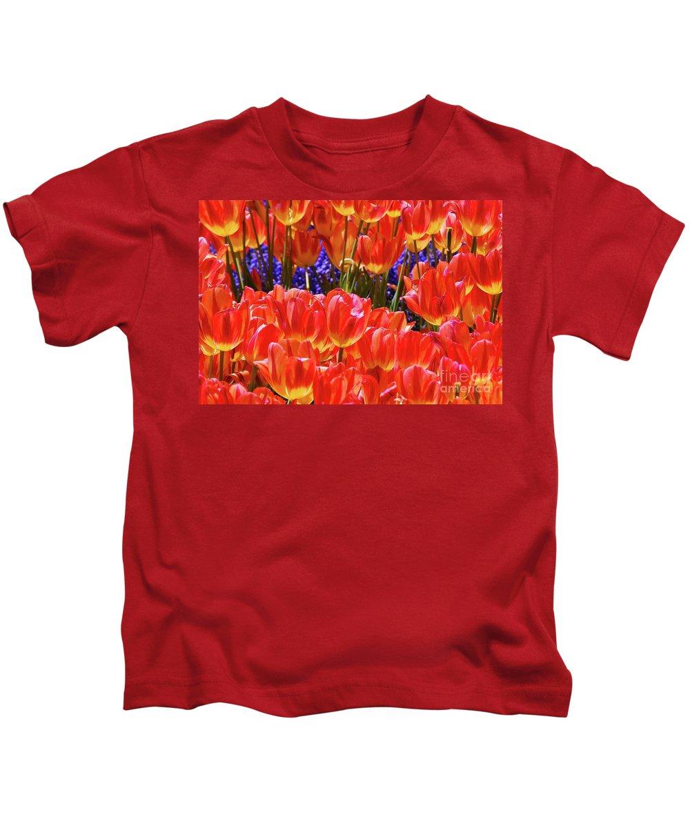 Orange Tulips Kids T-Shirt featuring the photograph Orange Tulips by Allen Beatty