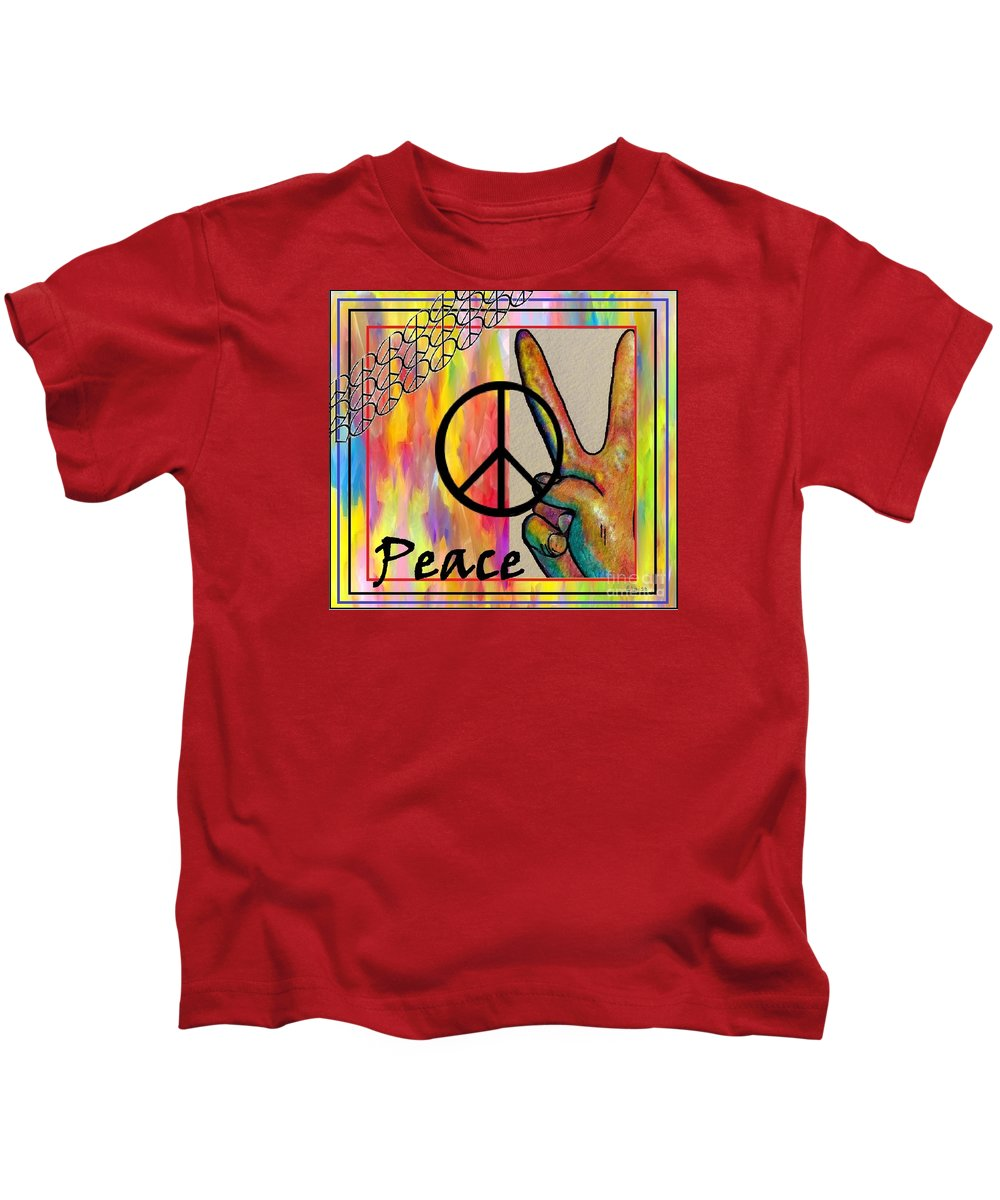 Peace Kids T-Shirt featuring the painting Peace In Every Color by Eloise Schneider Mote