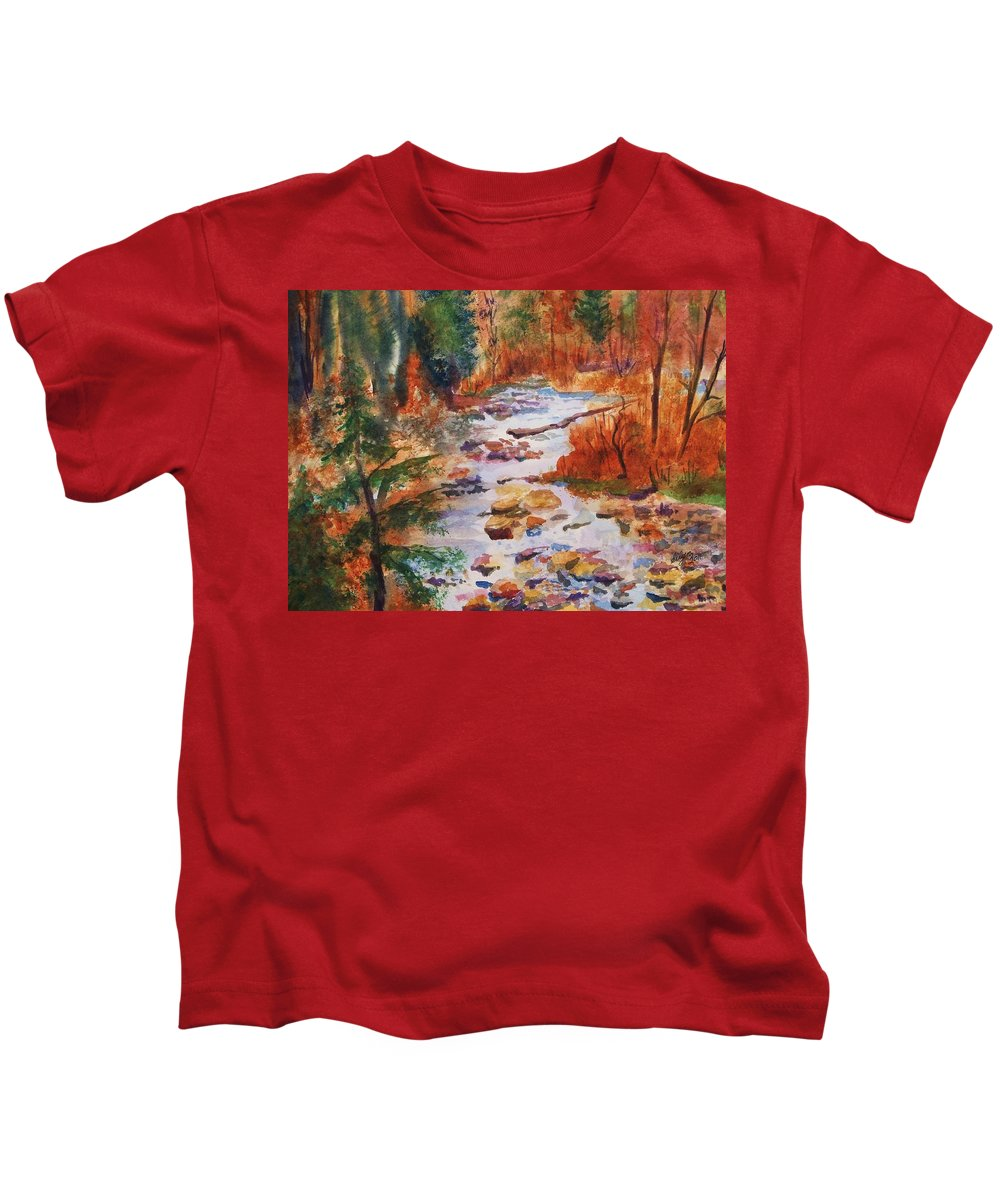 Creek Kids T-Shirt featuring the painting Pebbled Creek by Ellen Levinson
